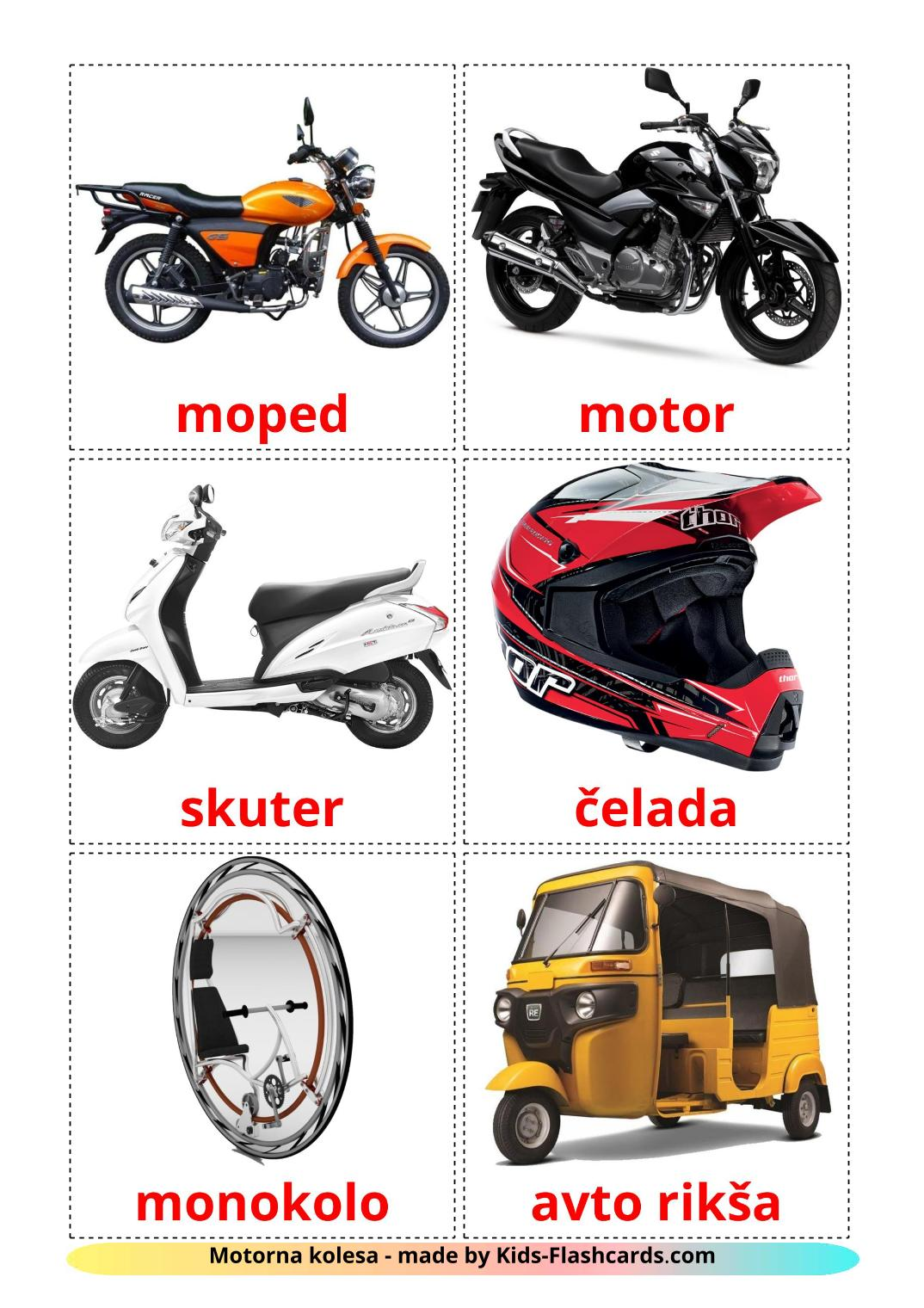 Motorcycles - 14 Free Printable slovenian Flashcards