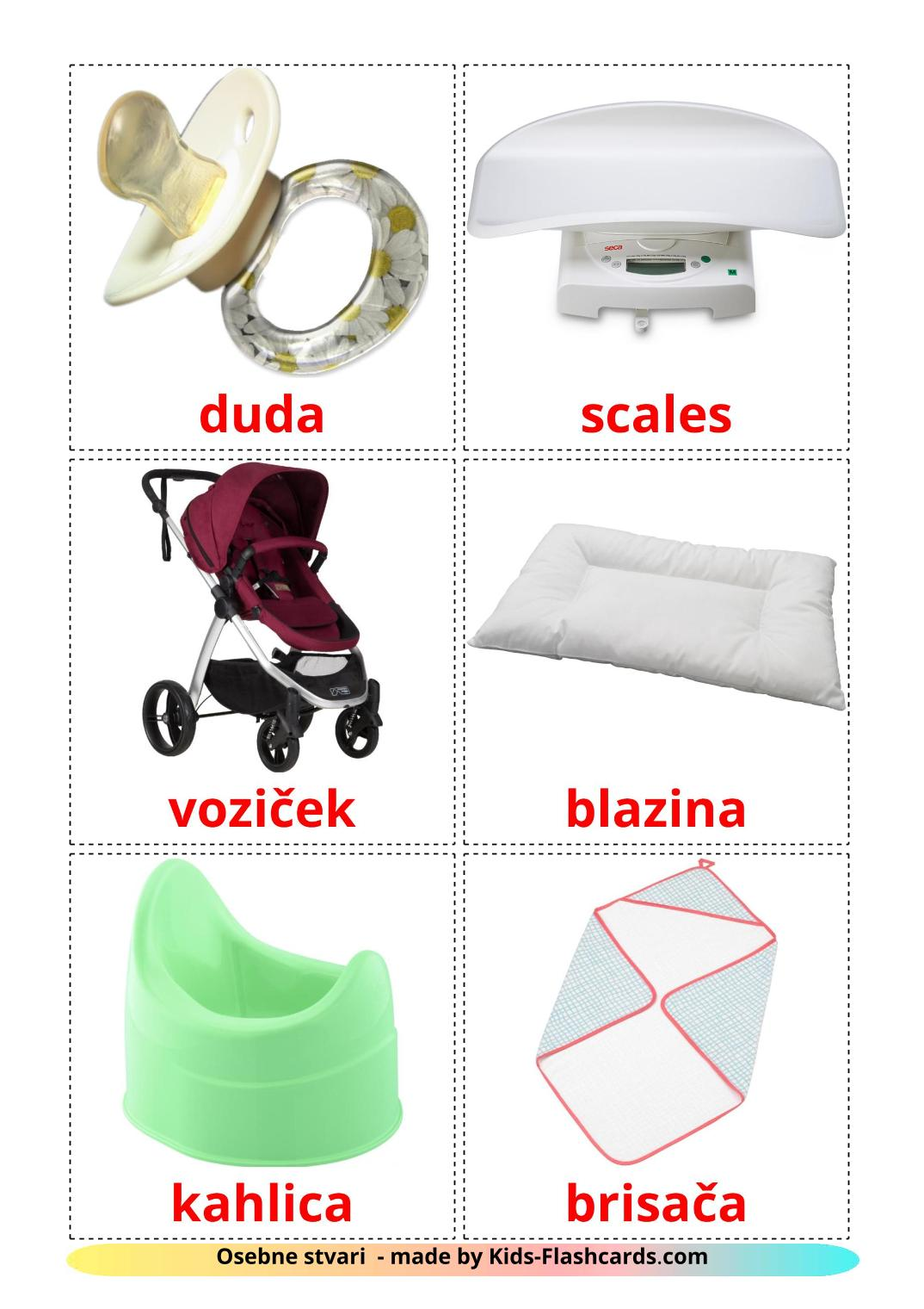 My Things - 20 Free Printable slovenian Flashcards