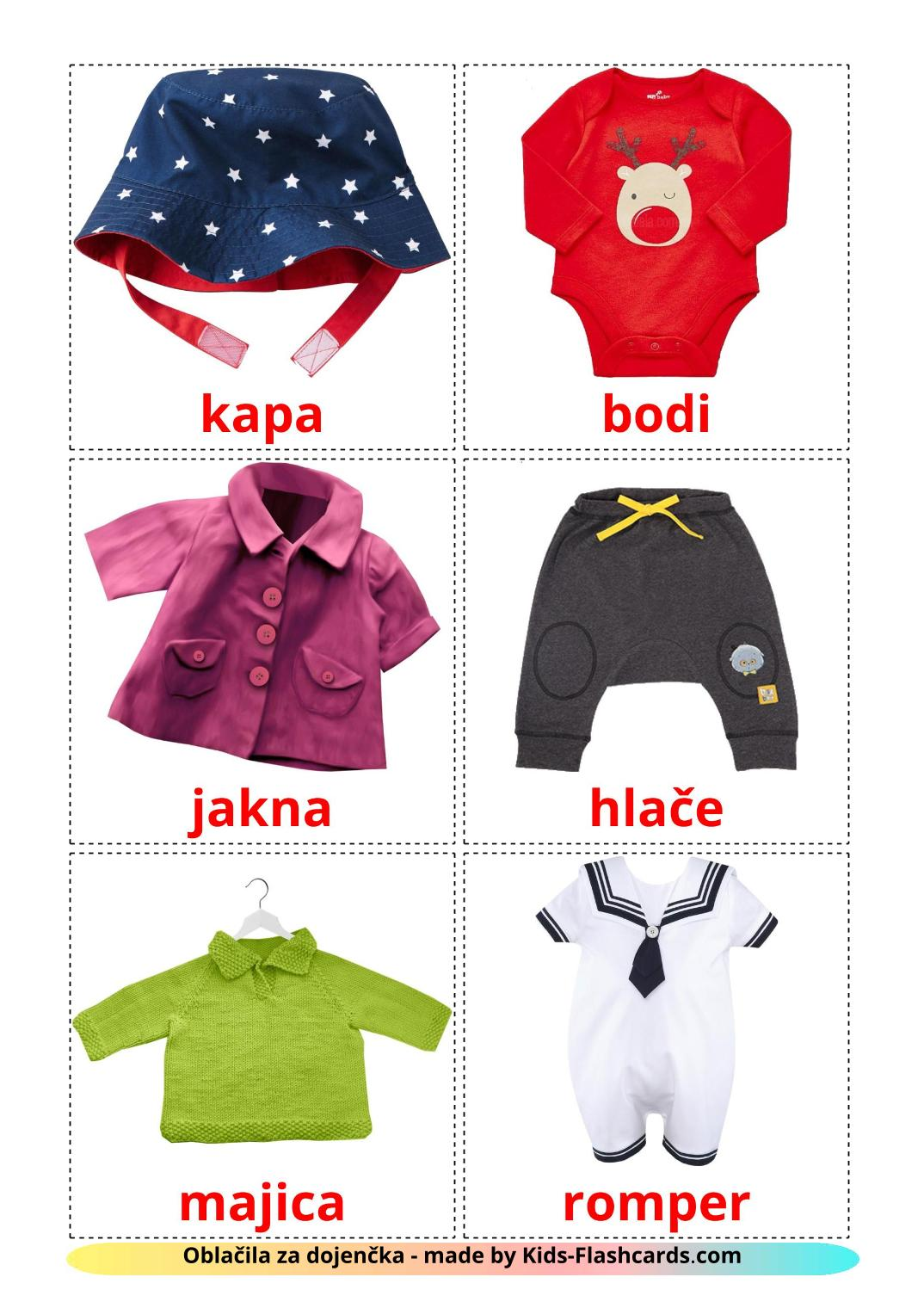 Baby clothes - 12 Free Printable slovenian Flashcards