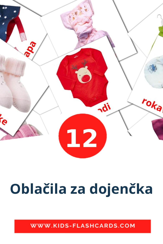 12 Oblačila za dojenčka Picture Cards for Kindergarden in slovenian