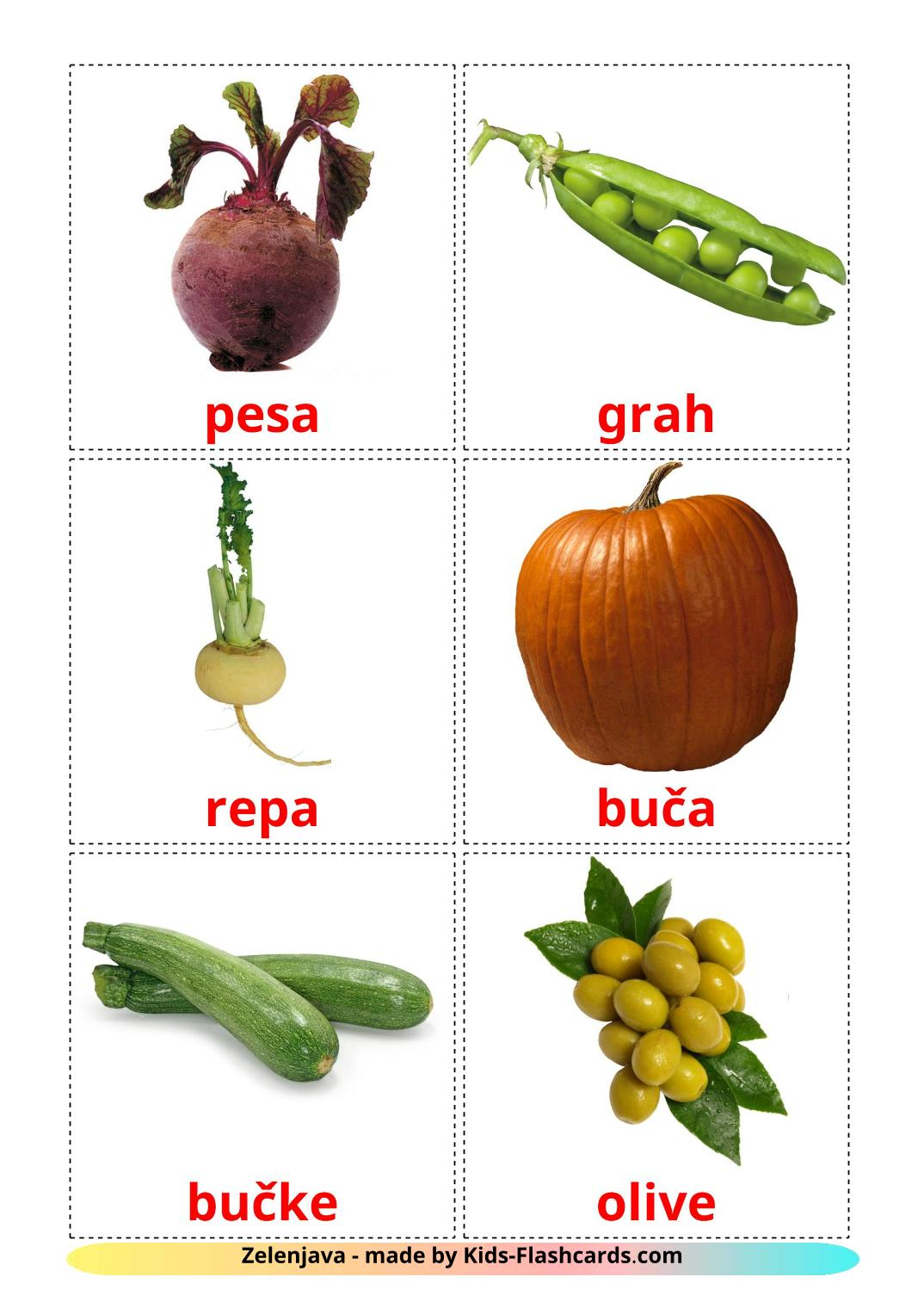 Vegetables - 29 Free Printable slovenian Flashcards