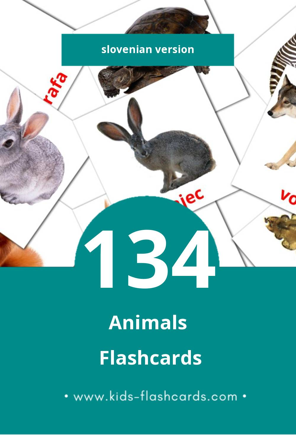 Visual ŽIVALI Flashcards for Toddlers (46 cards in Slovenian)