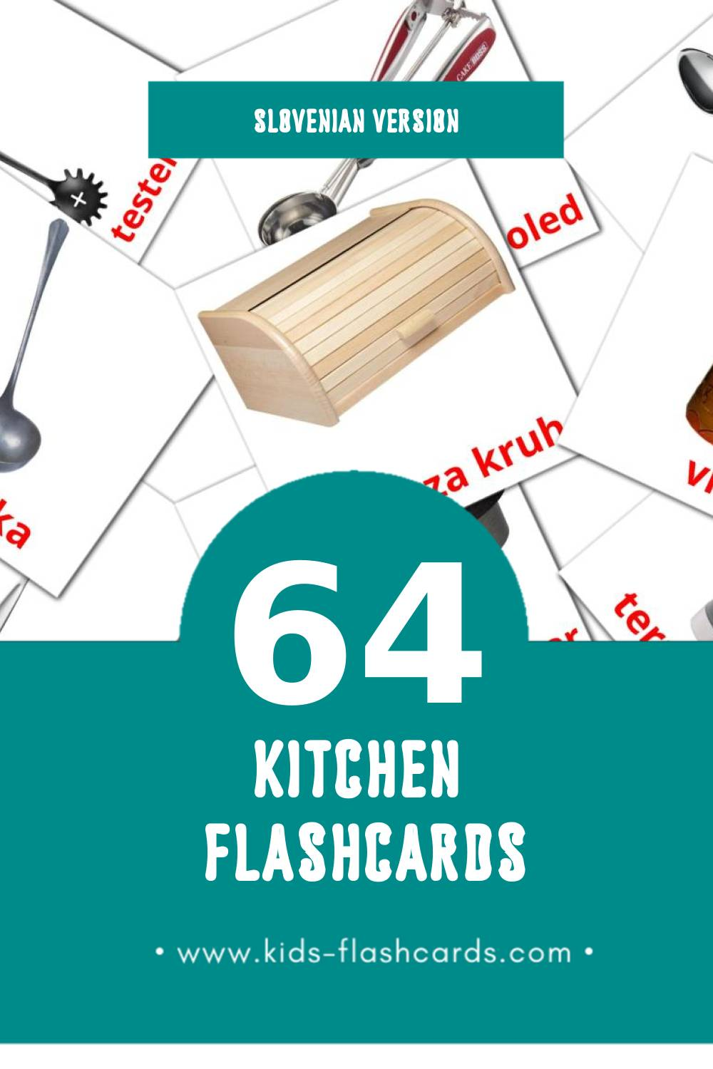 Visual Kuhinja Flashcards for Toddlers (64 cards in Slovenian)