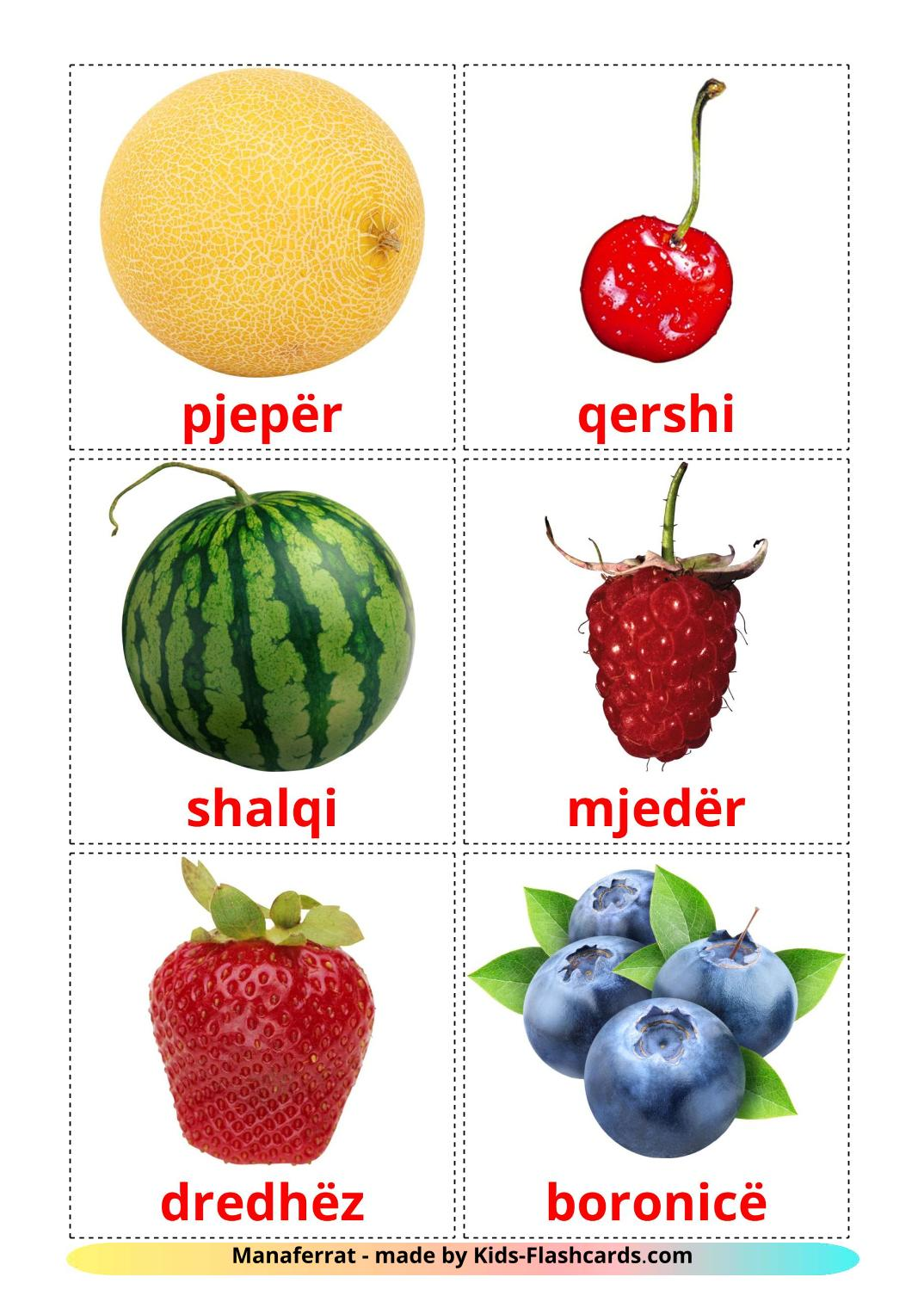 Berries - 11 Free Printable albanian Flashcards
