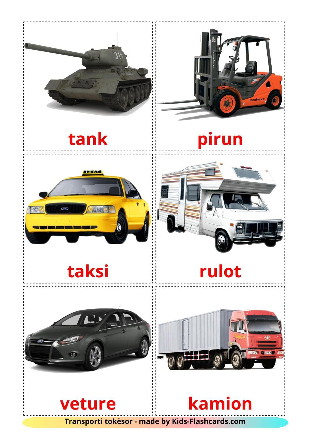 Land transport - 28 Free Printable albanian Flashcards