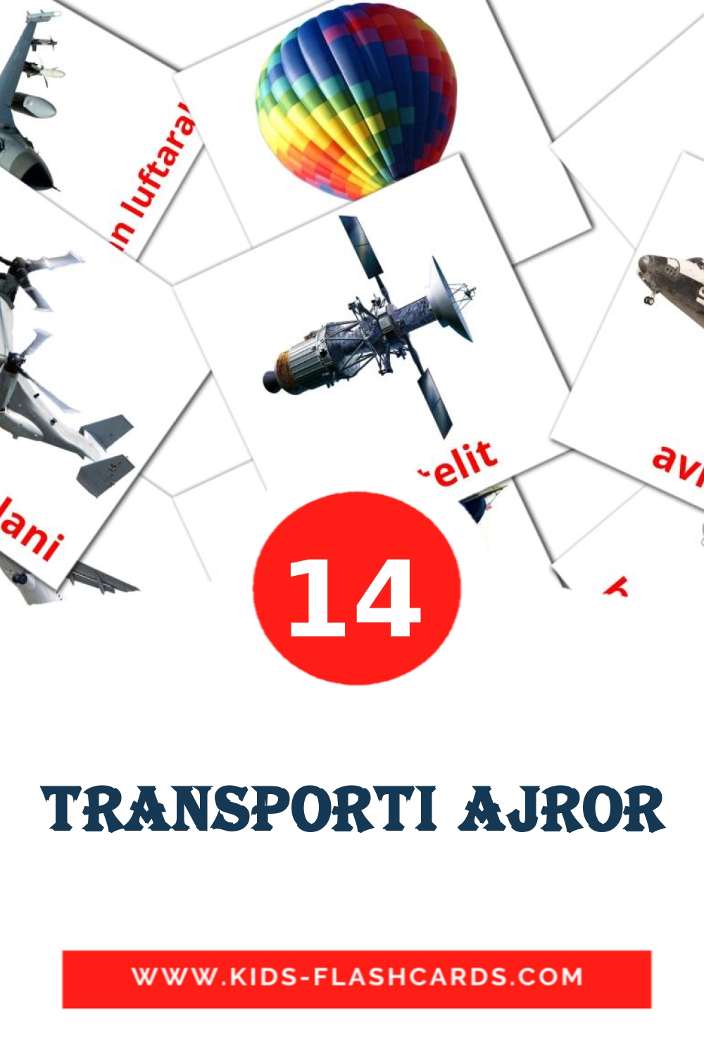 14 Transporti ajror Picture Cards for Kindergarden in albanian