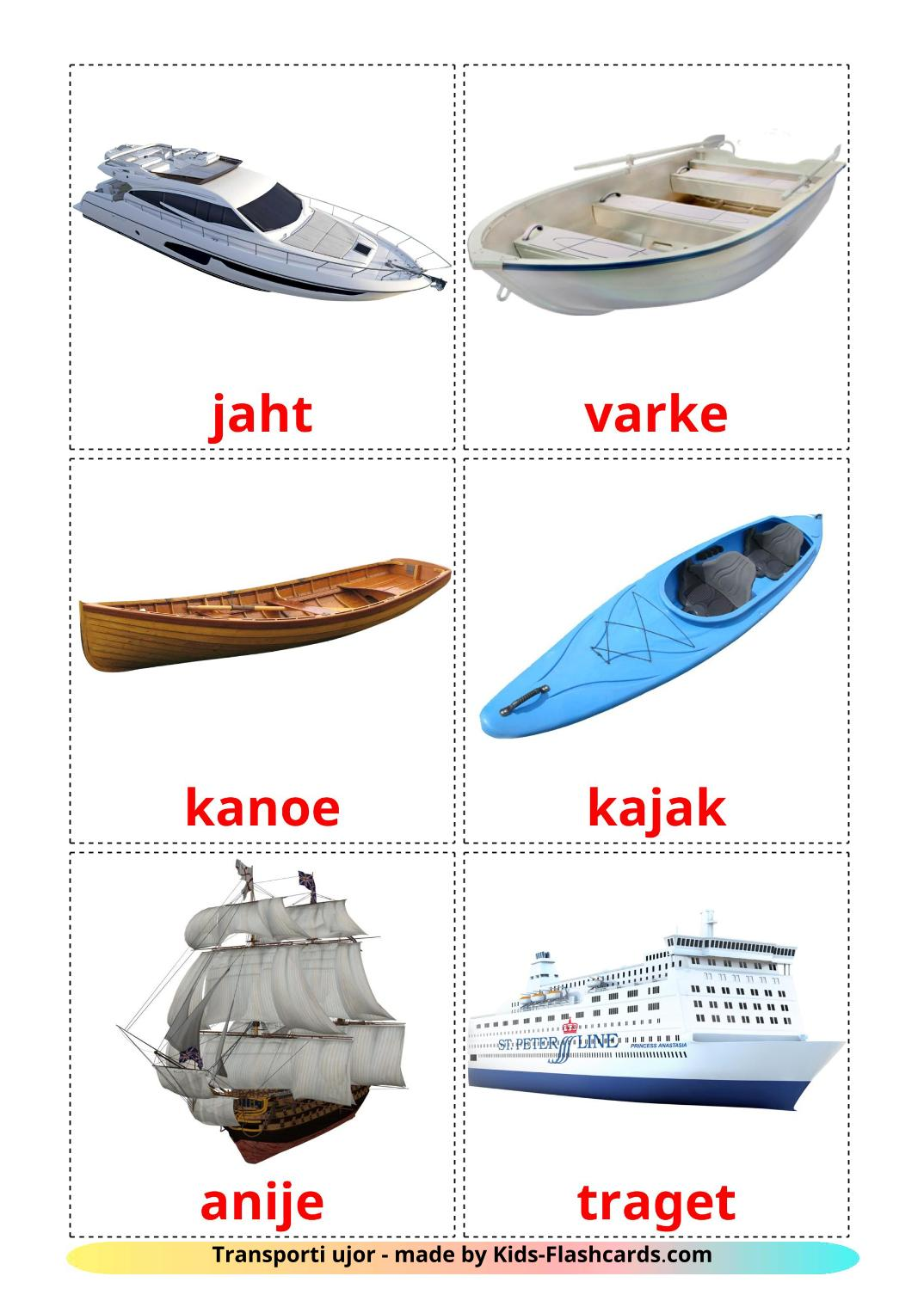 Water transport - 18 Free Printable albanian Flashcards