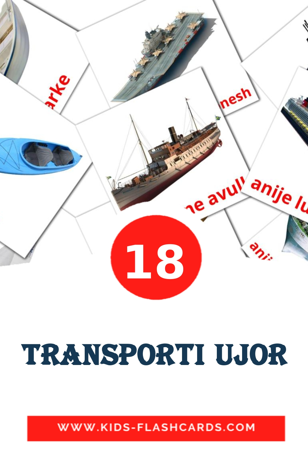 18 Transporti ujor Picture Cards for Kindergarden in albanian