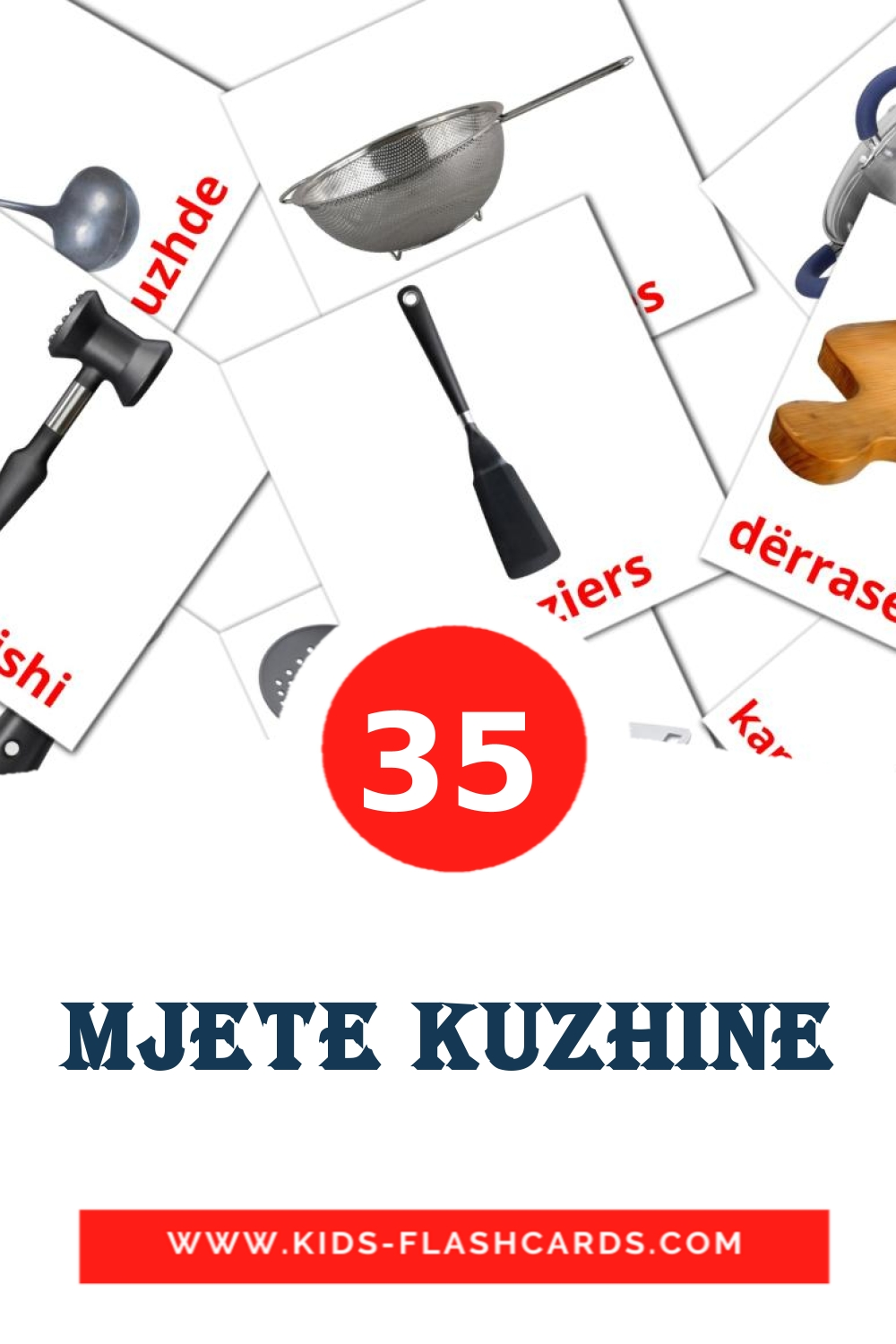 35 mjete kuzhine Picture Cards for Kindergarden in albanian
