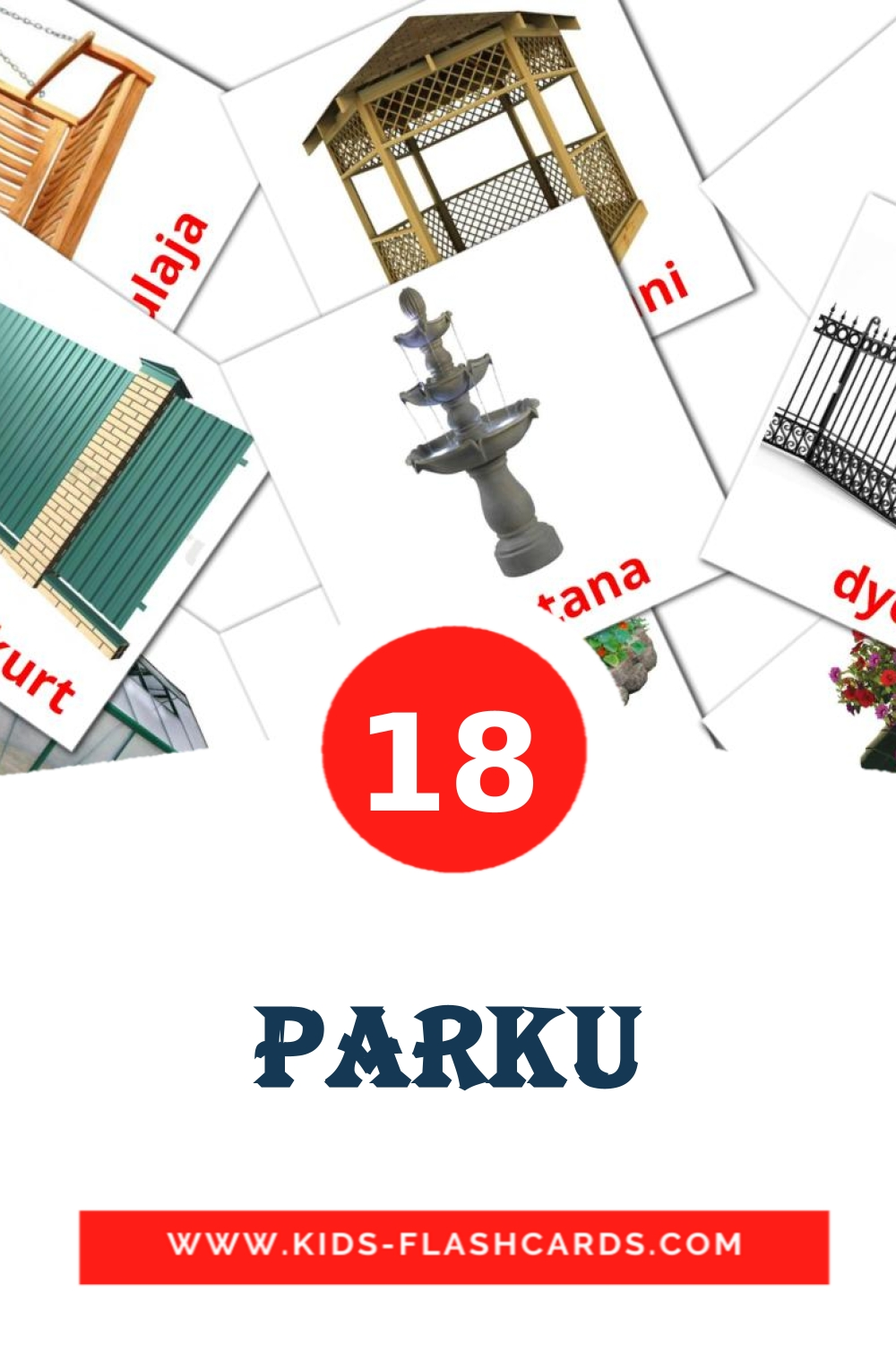 18 Parku Picture Cards for Kindergarden in albanian