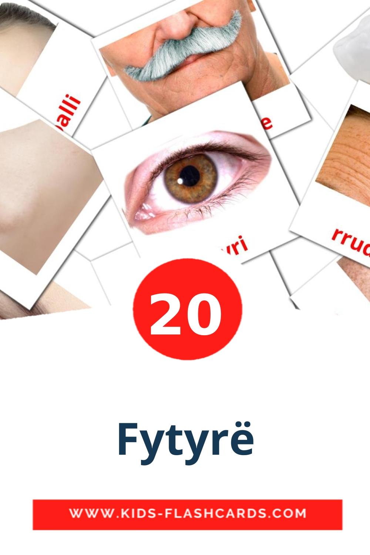 20 Fytyrë Picture Cards for Kindergarden in albanian