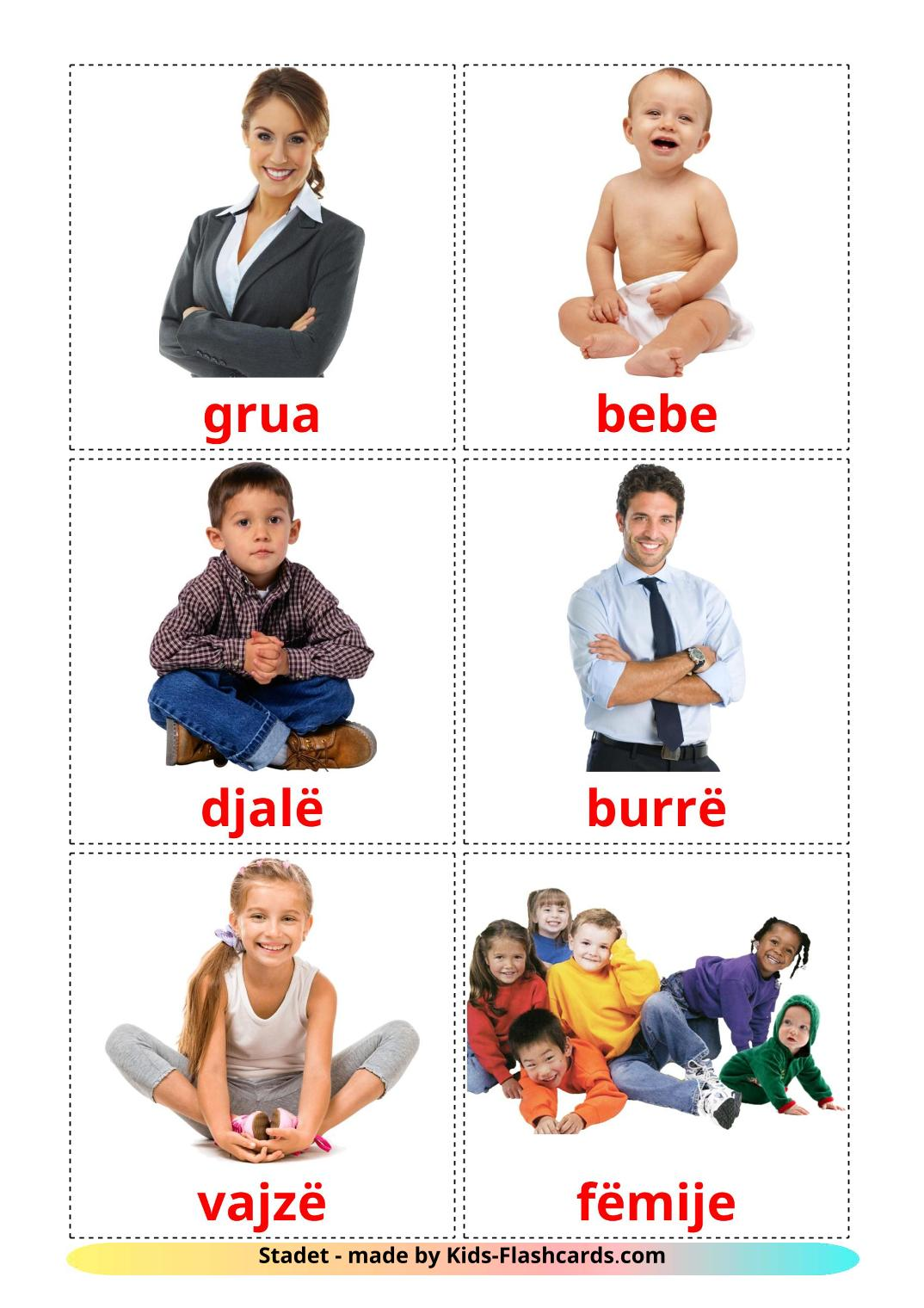 Stages - 12 Free Printable albanian Flashcards