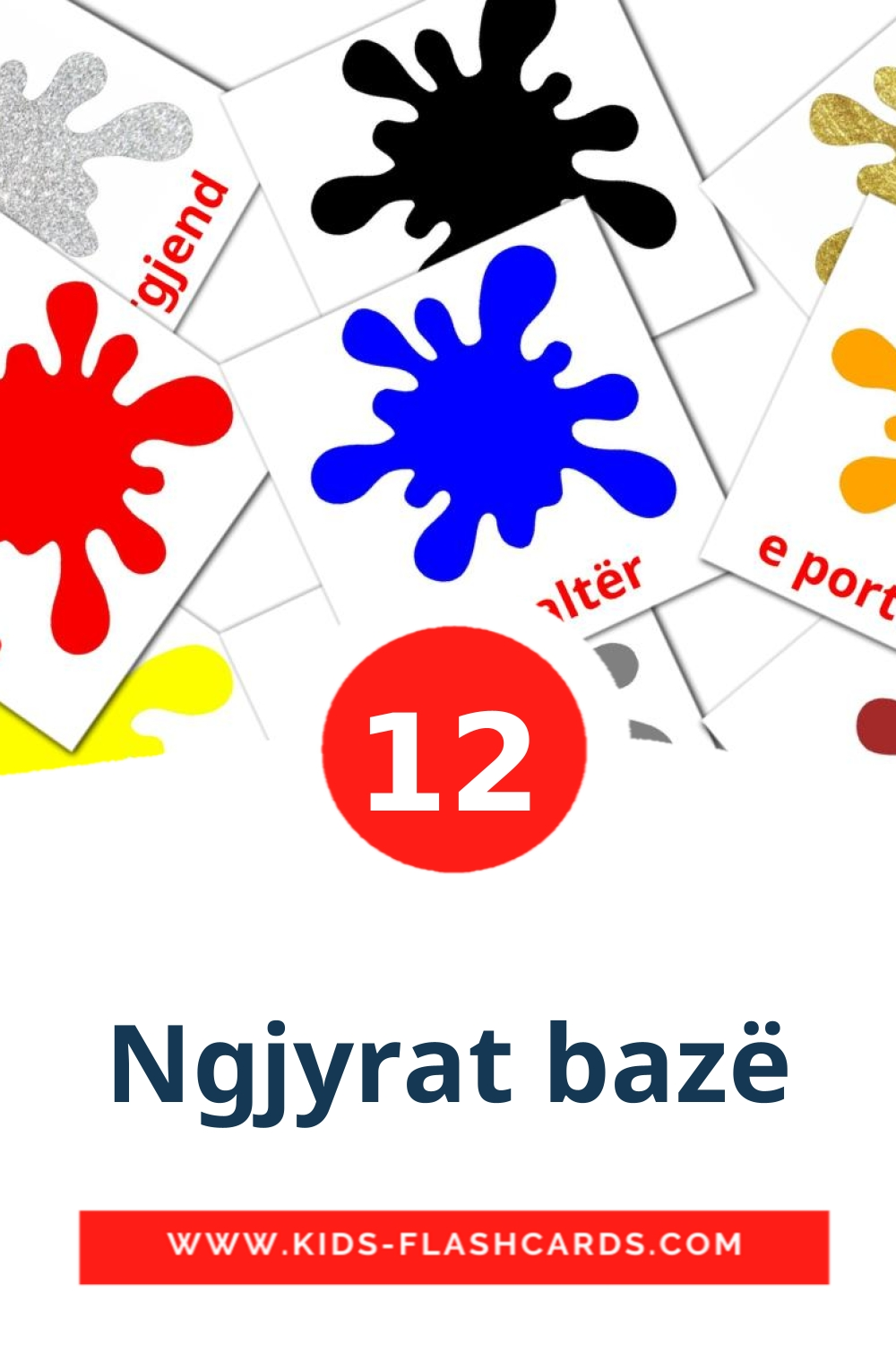 12 Ngjyrat bazë Picture Cards for Kindergarden in albanian