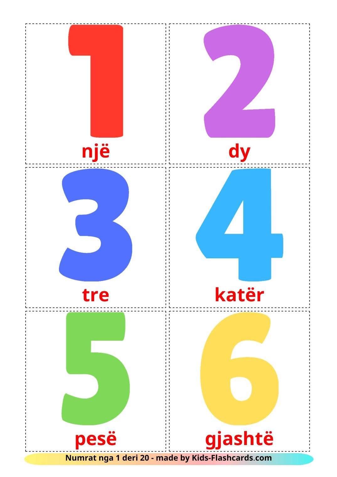 Numbers (1-20) - 20 Free Printable albanian Flashcards