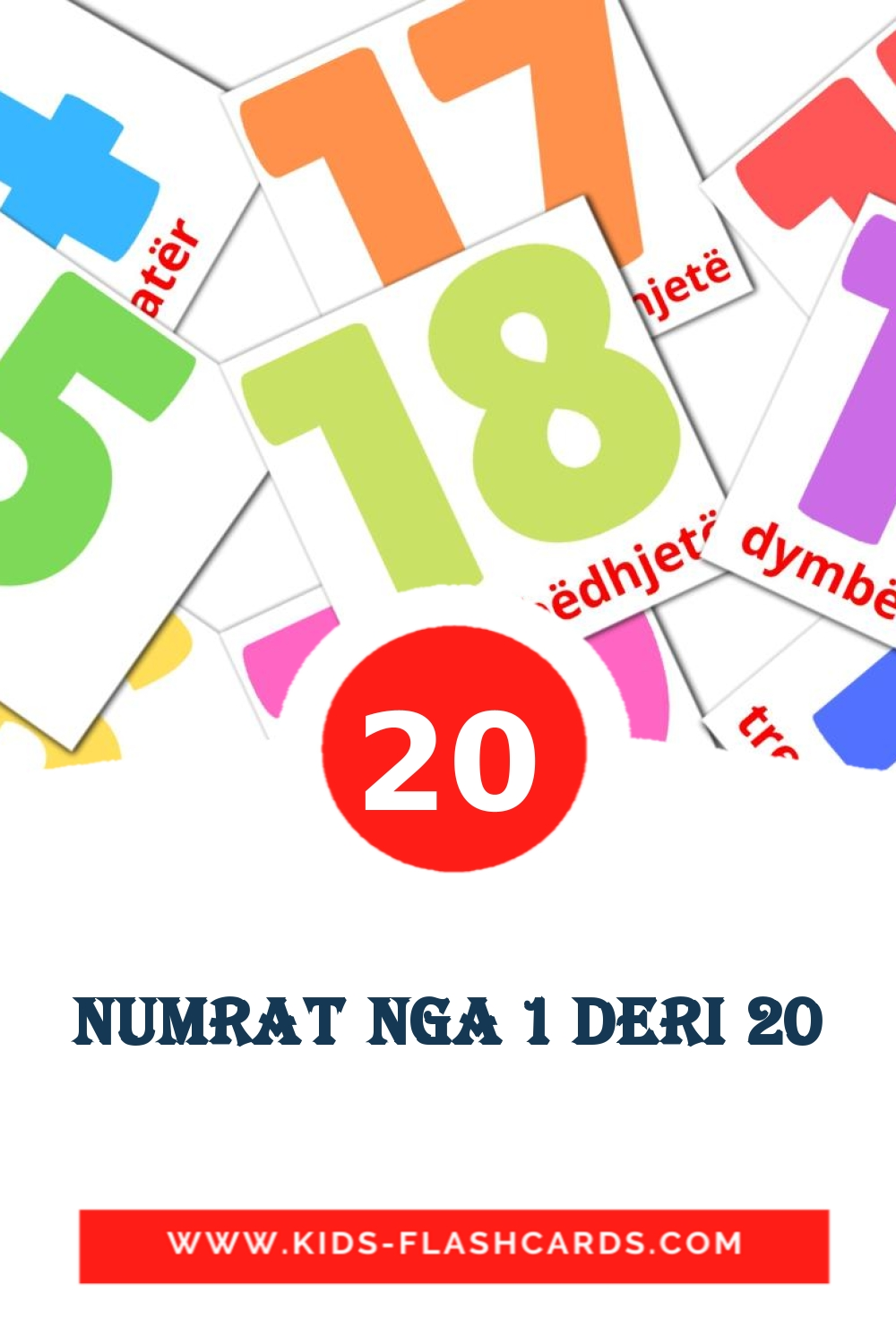 20 Numrat nga 1 deri 20 Picture Cards for Kindergarden in albanian