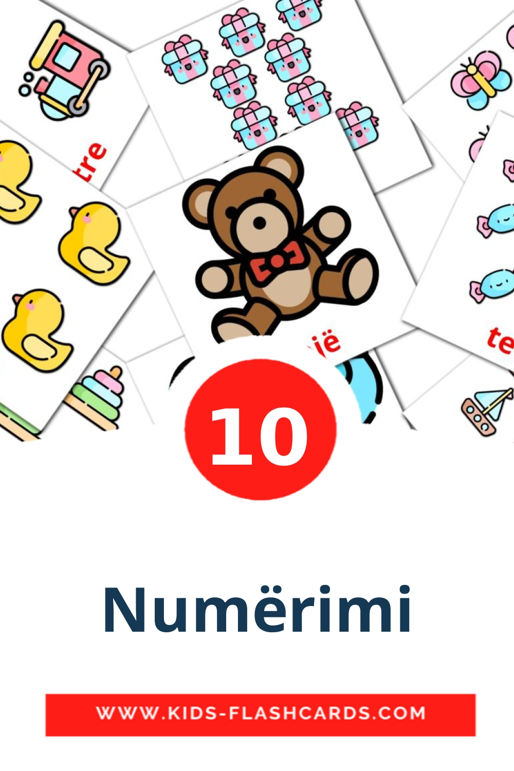 10 Numërimi Picture Cards for Kindergarden in albanian