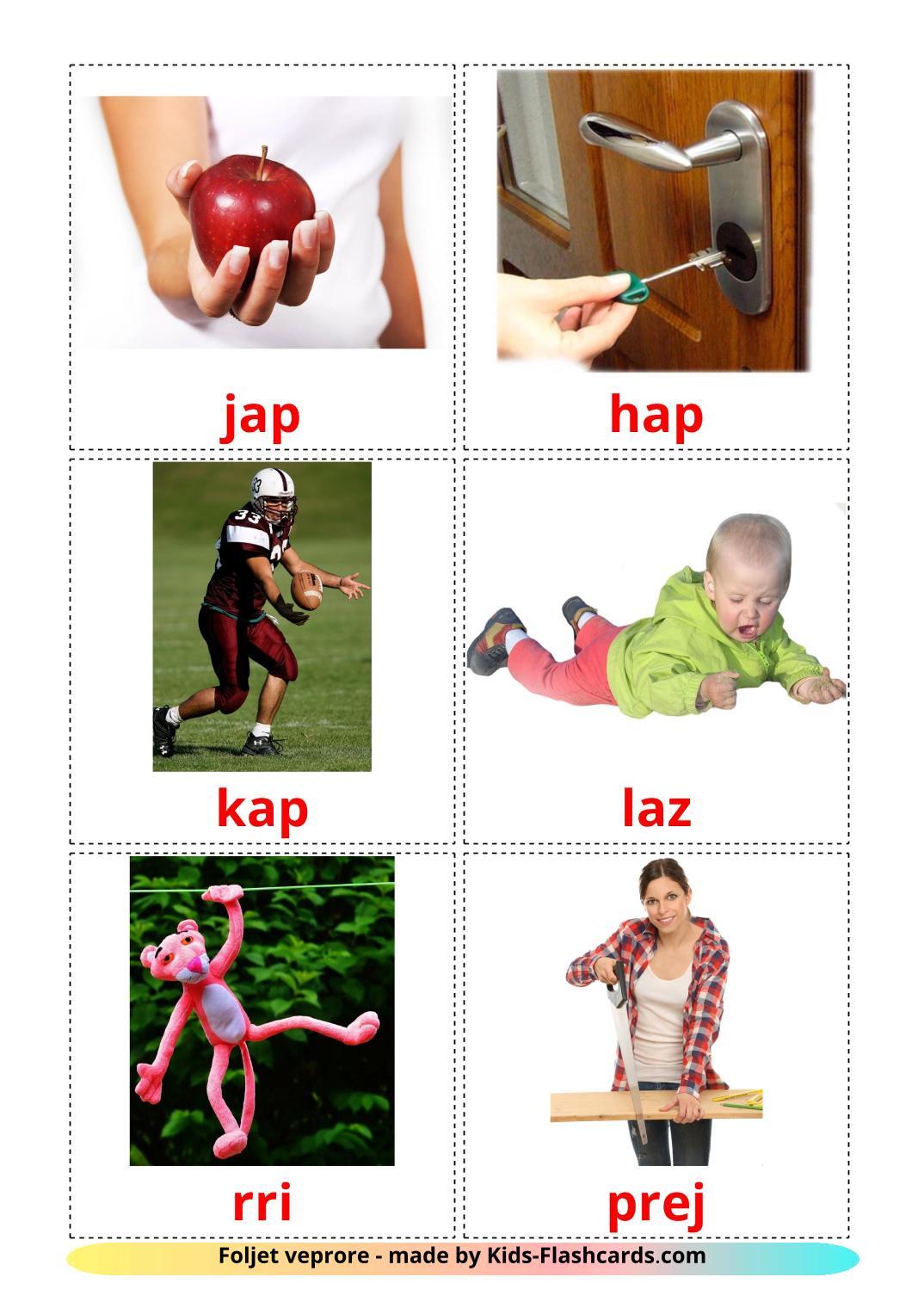 Action verbs - 55 Free Printable albanian Flashcards