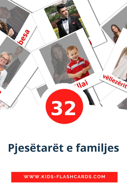 32 Pjesëtarët e familjes Picture Cards for Kindergarden in albanian