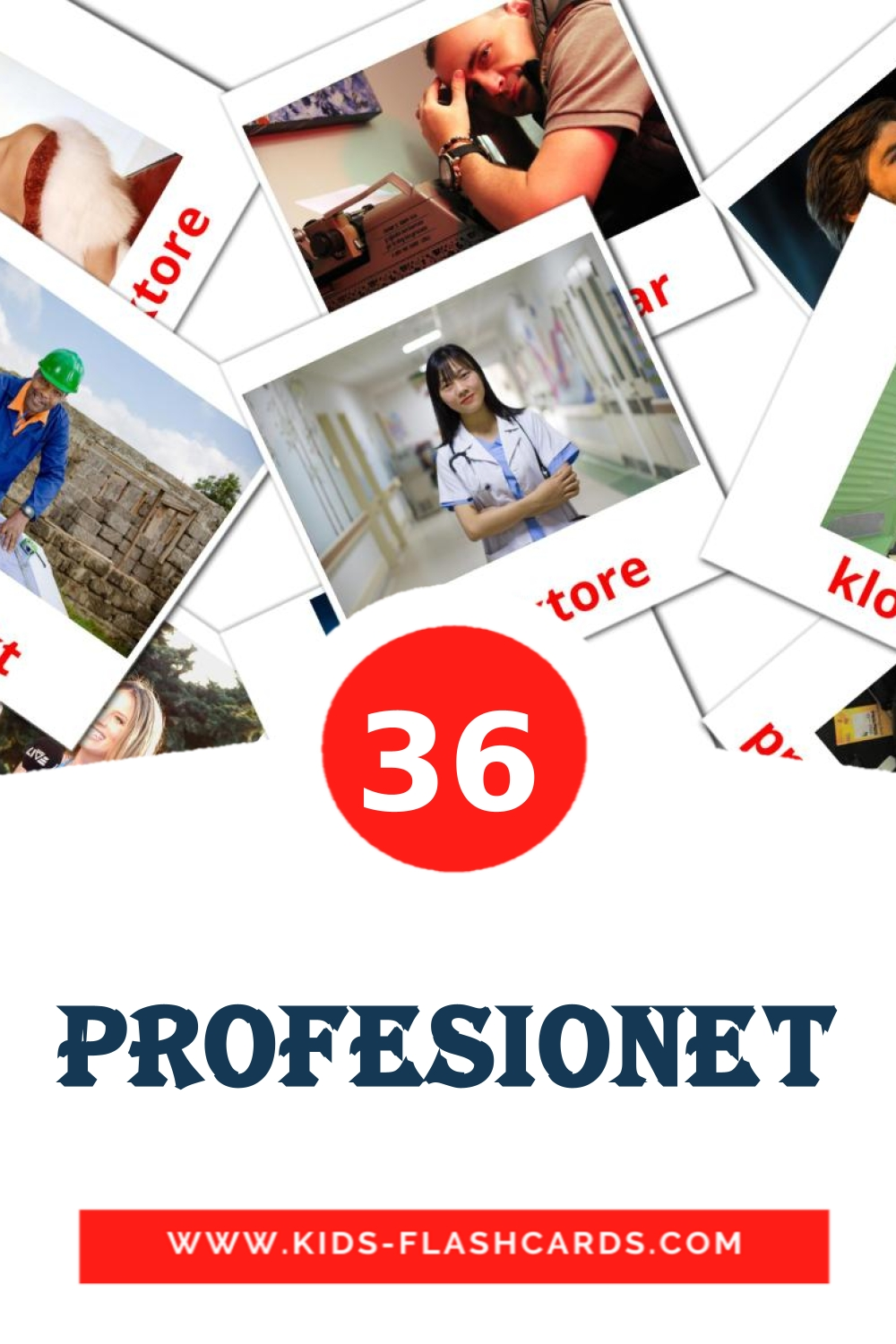 36 Profesionet Picture Cards for Kindergarden in albanian