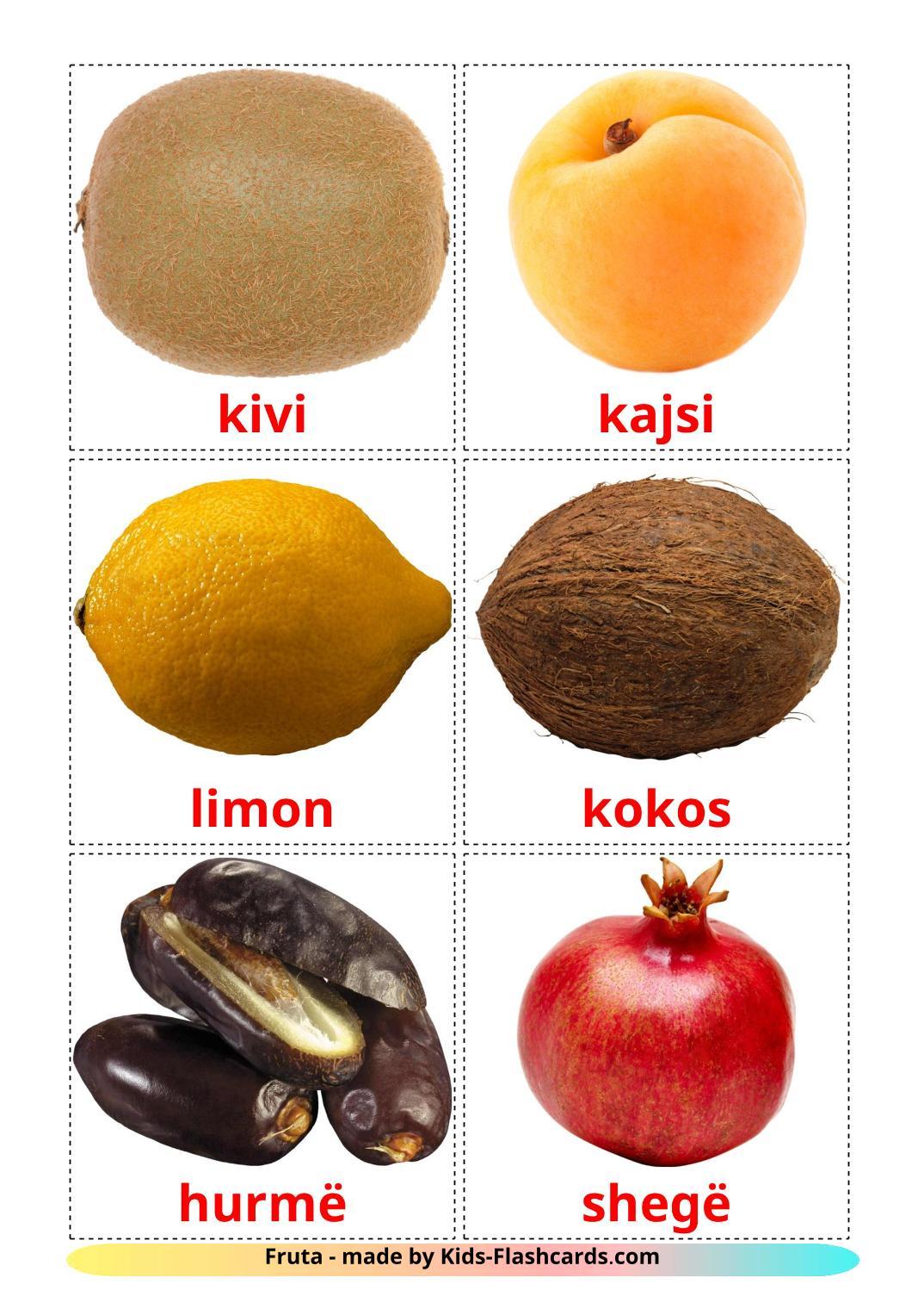 Fruits - 20 Free Printable albanian Flashcards