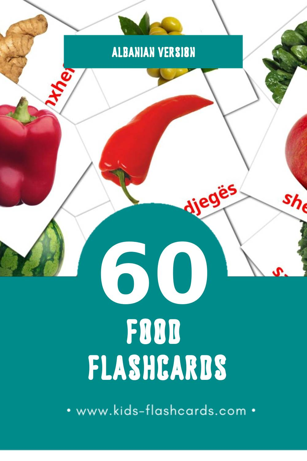 Visual Ushqim Flashcards for Toddlers (60 cards in Albanian)