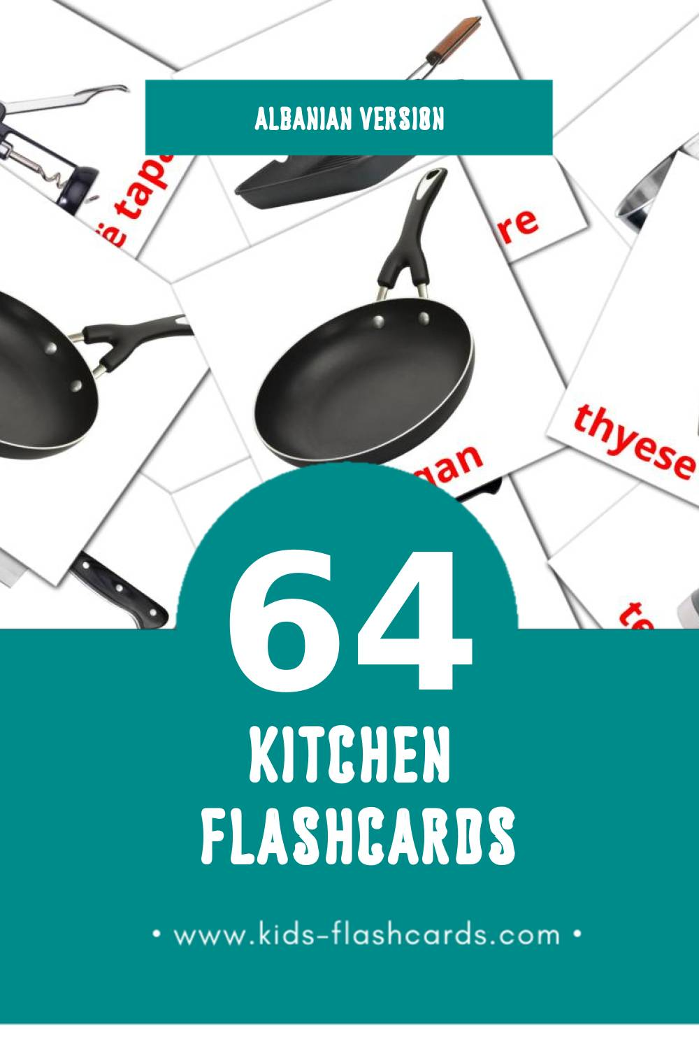 Visual Kuzhina Flashcards for Toddlers (64 cards in Albanian)