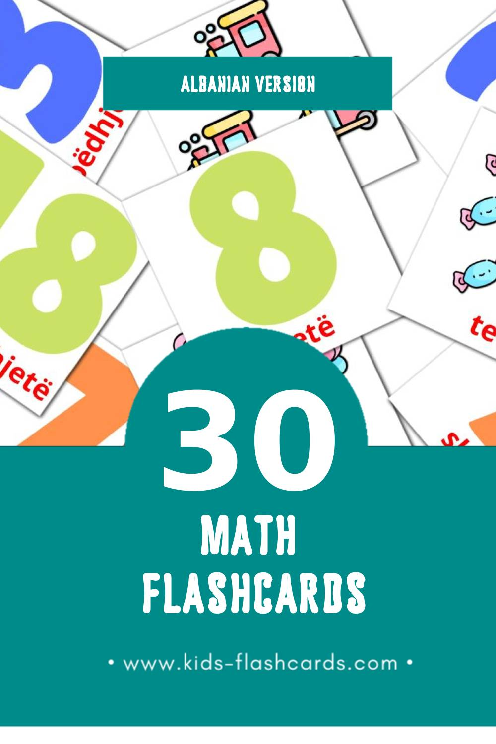 Visual Matematik Flashcards for Toddlers (30 cards in Albanian)