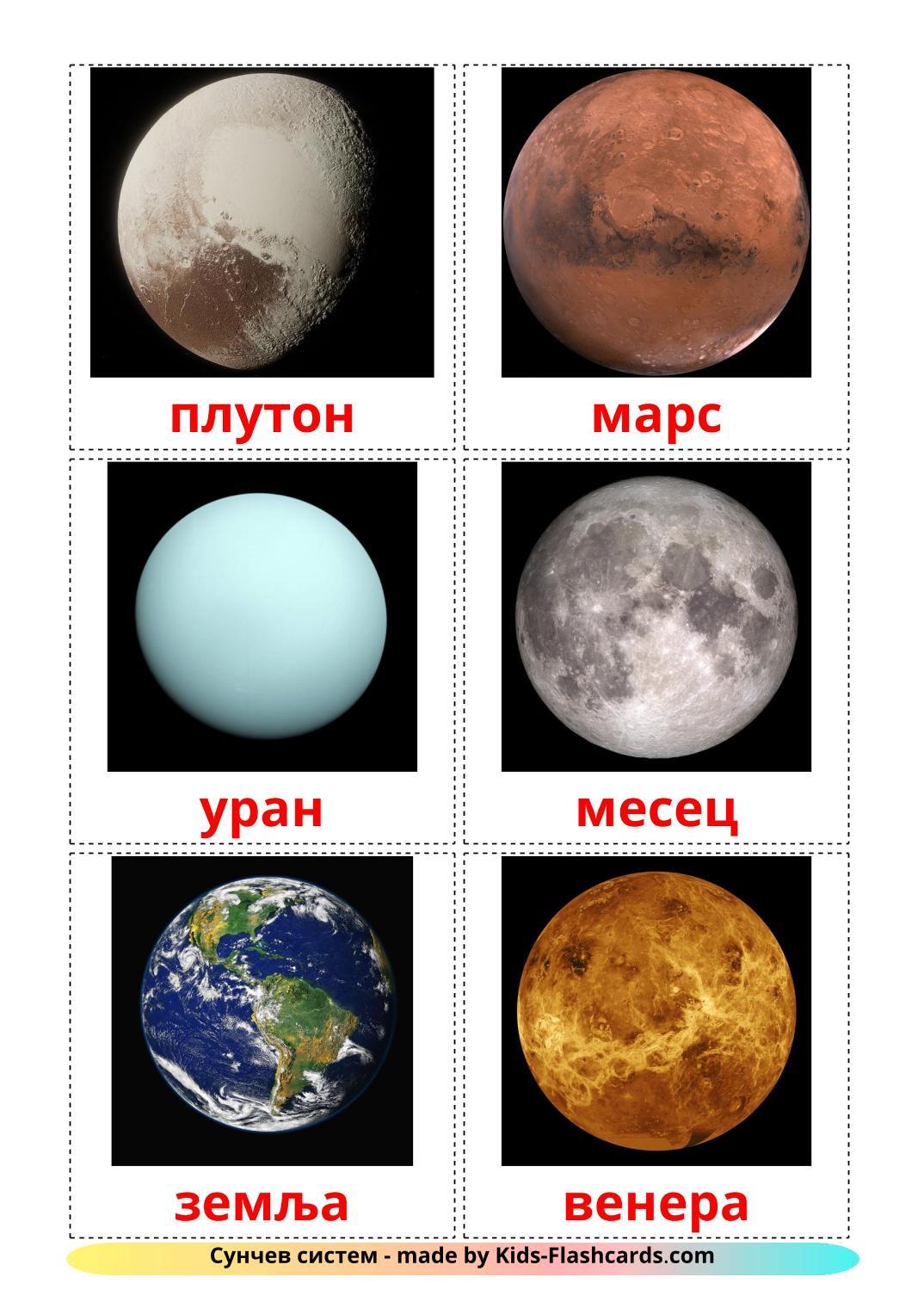 Солнечная система - 20 Карточек Домана на сербский(кириллица)
