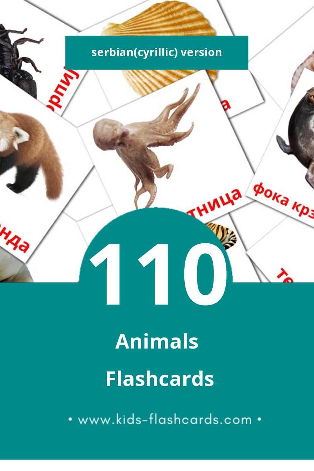 Visual Животиње Flashcards for Toddlers (110 cards in Serbian(cyrillic))