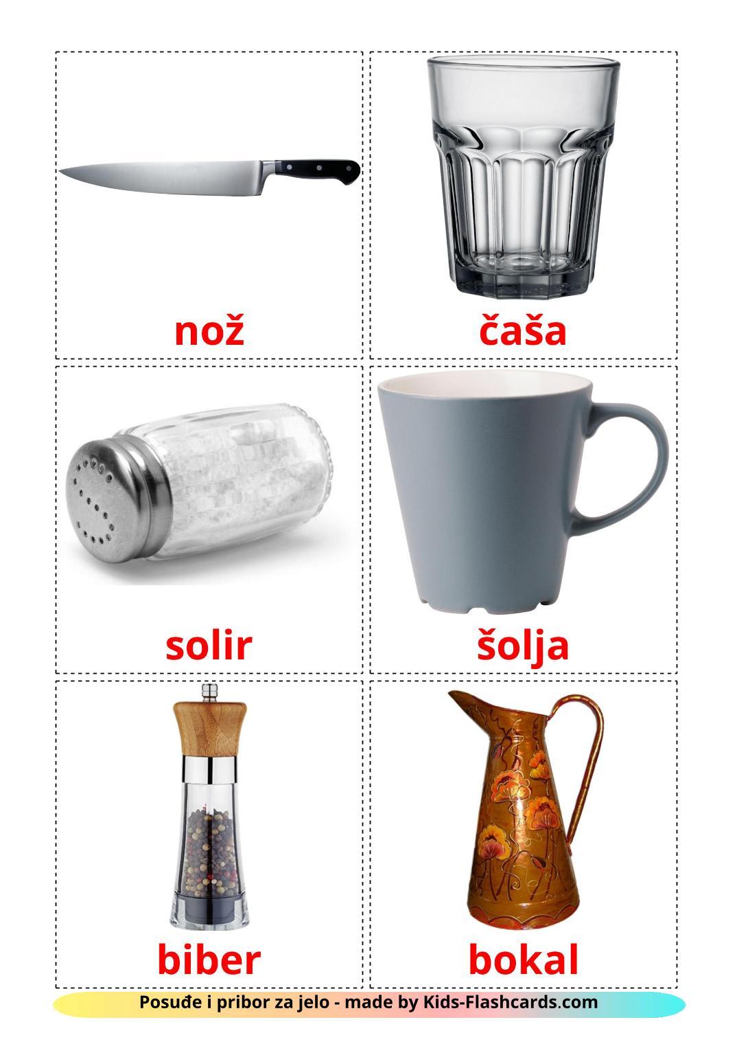 Crockery and cutlery - 29 Free Printable serbian Flashcards