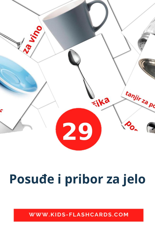 29 Posuđe i pribor za jelo Picture Cards for Kindergarden in serbian