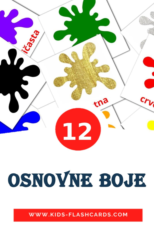 12 Osnovne boje Picture Cards for Kindergarden in serbian
