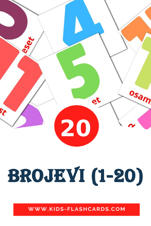 20 Brojevi (1-20) Picture Cards for Kindergarden in serbian