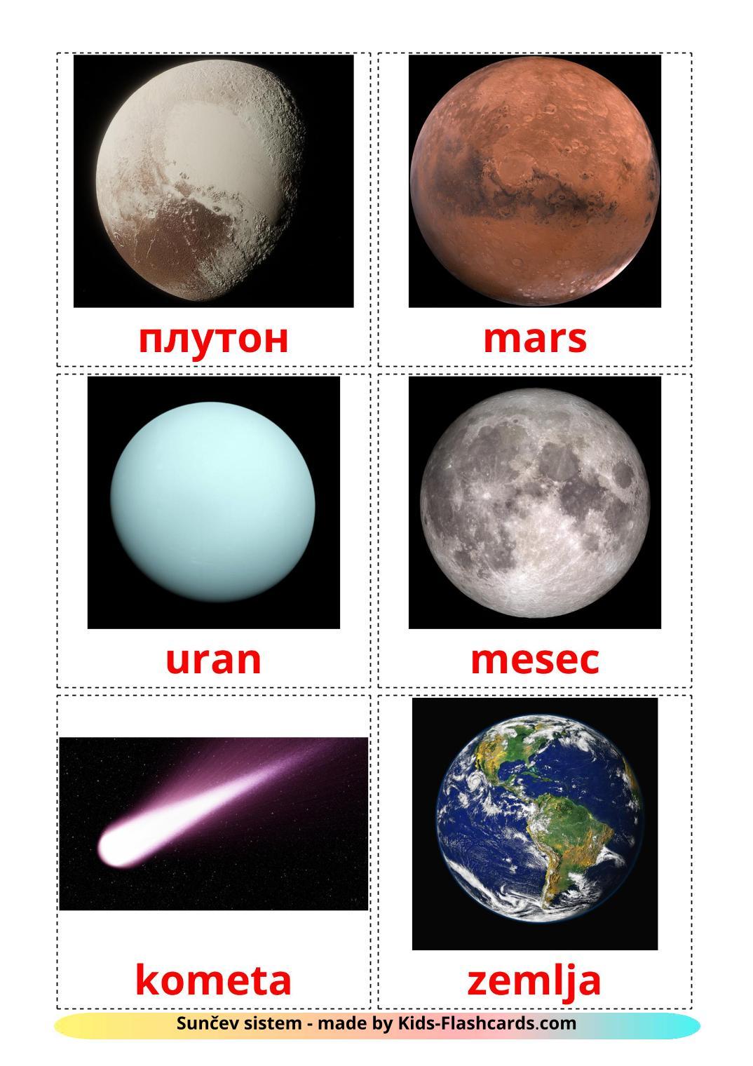 Solar System - 20 Free Printable serbian Flashcards