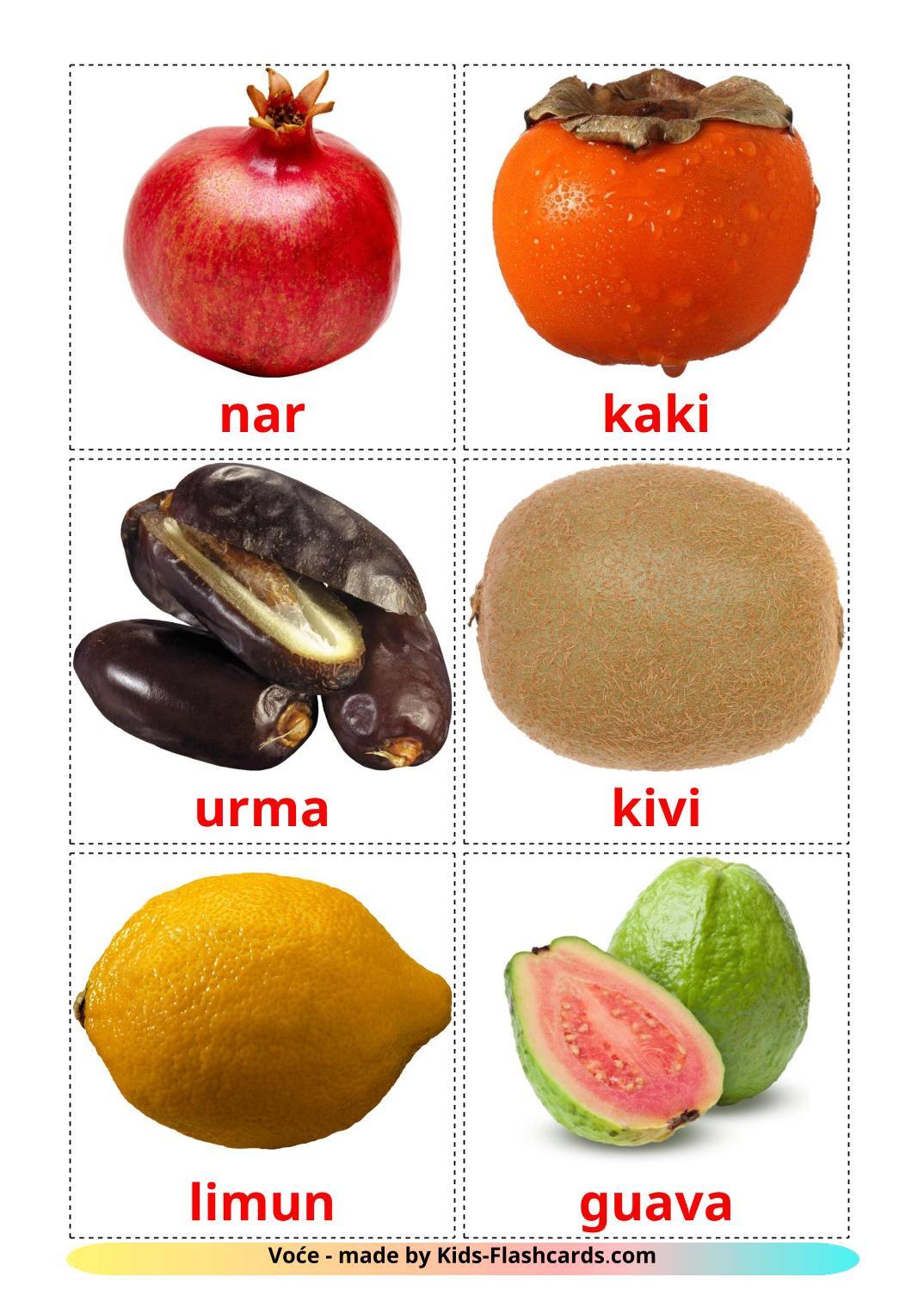 Fruits - 20 Free Printable serbian Flashcards