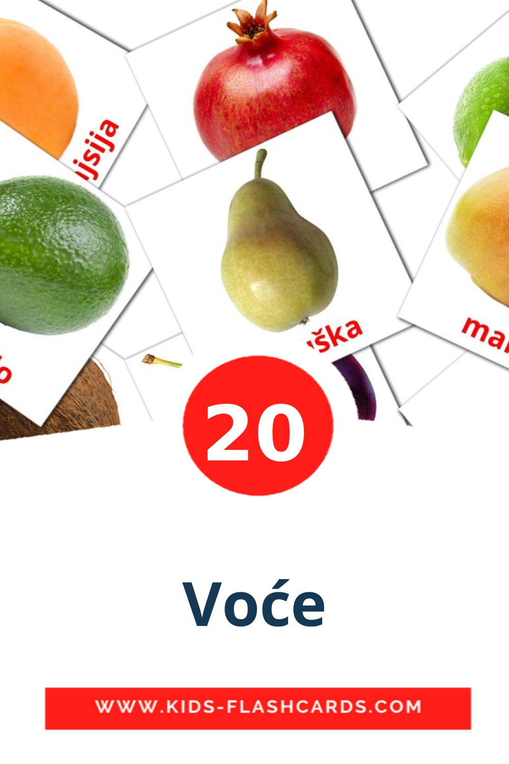 20 Voće Picture Cards for Kindergarden in serbian