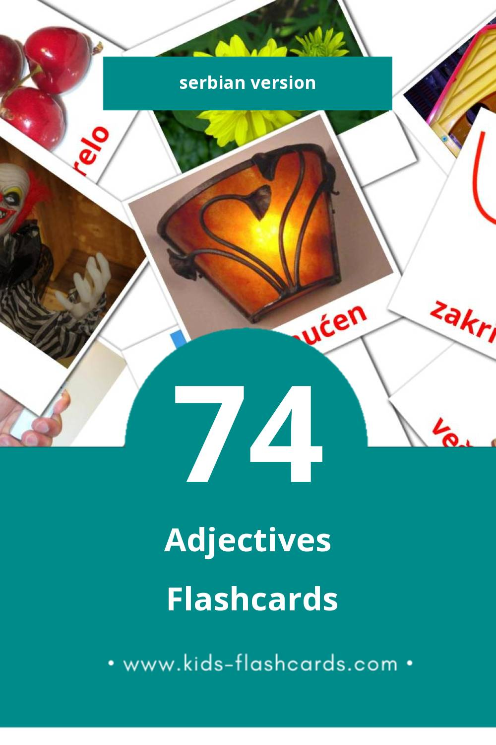 Visual Pridevi Flashcards for Toddlers (74 cards in Serbian)