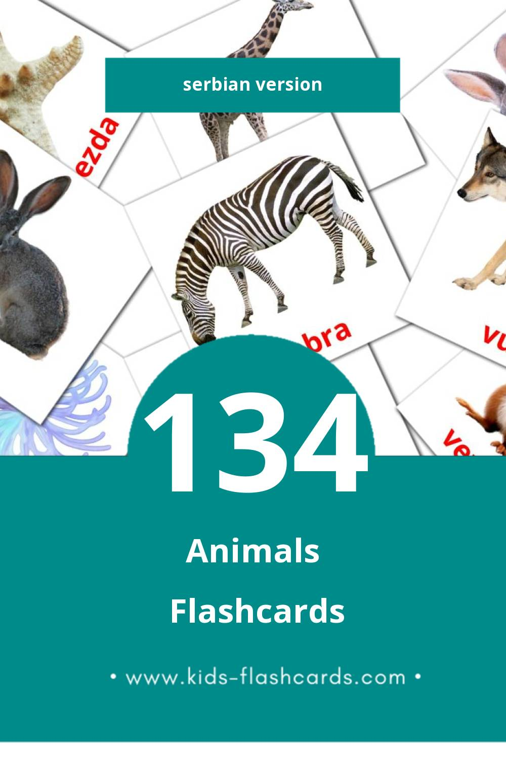 Visual Životinje Flashcards for Toddlers (134 cards in Serbian)