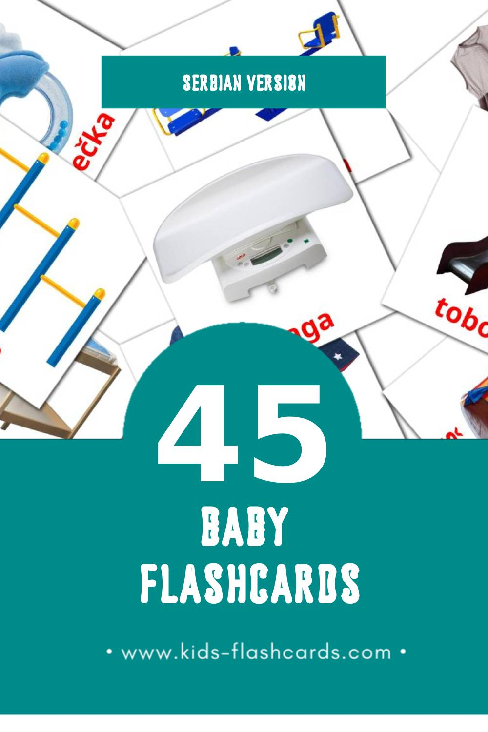 Visual Beba Flashcards for Toddlers (45 cards in Serbian)