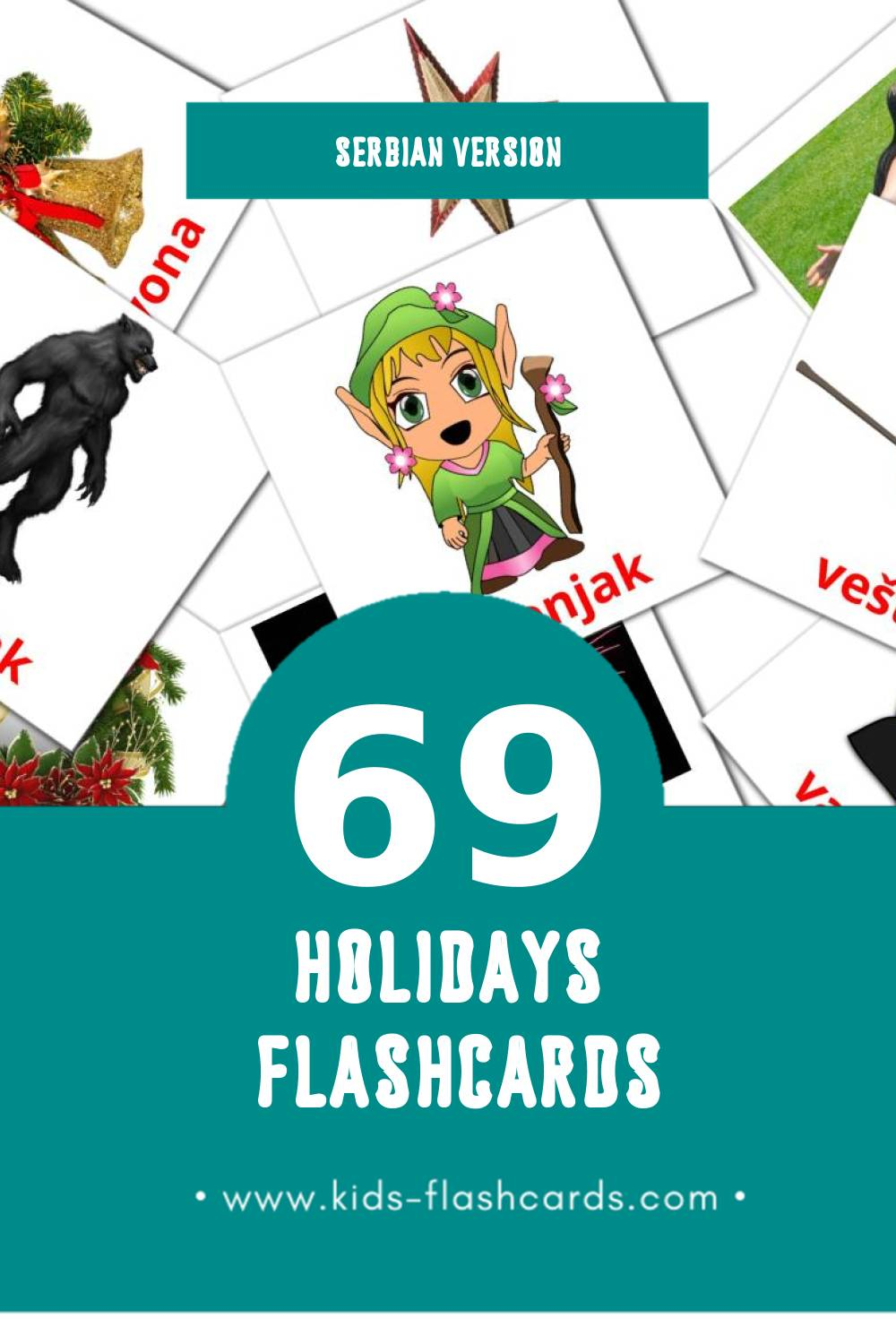 Visual Praznici Flashcards for Toddlers (69 cards in Serbian)