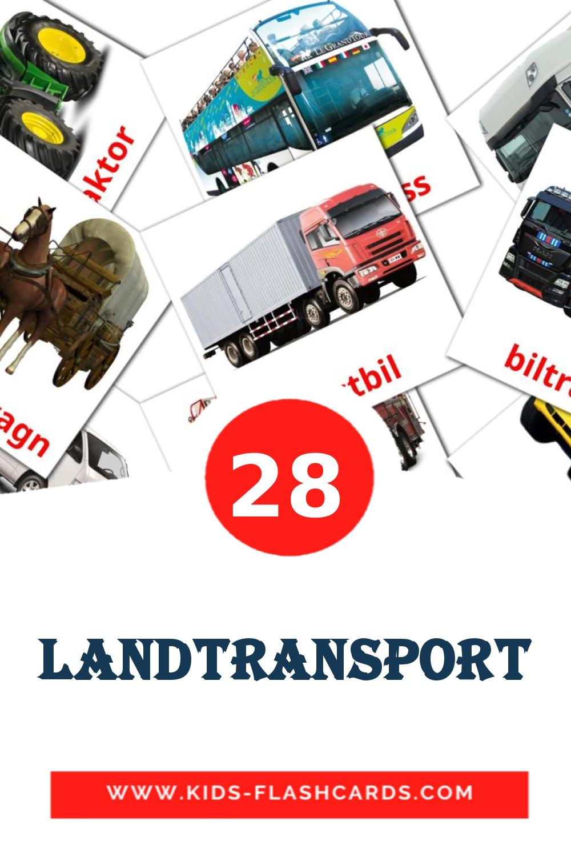 28 Landtransport Picture Cards for Kindergarden in swedish