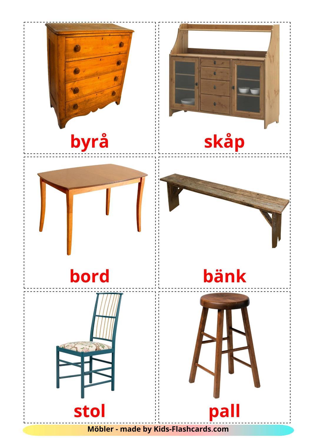 Furniture - 31 Free Printable swedish Flashcards