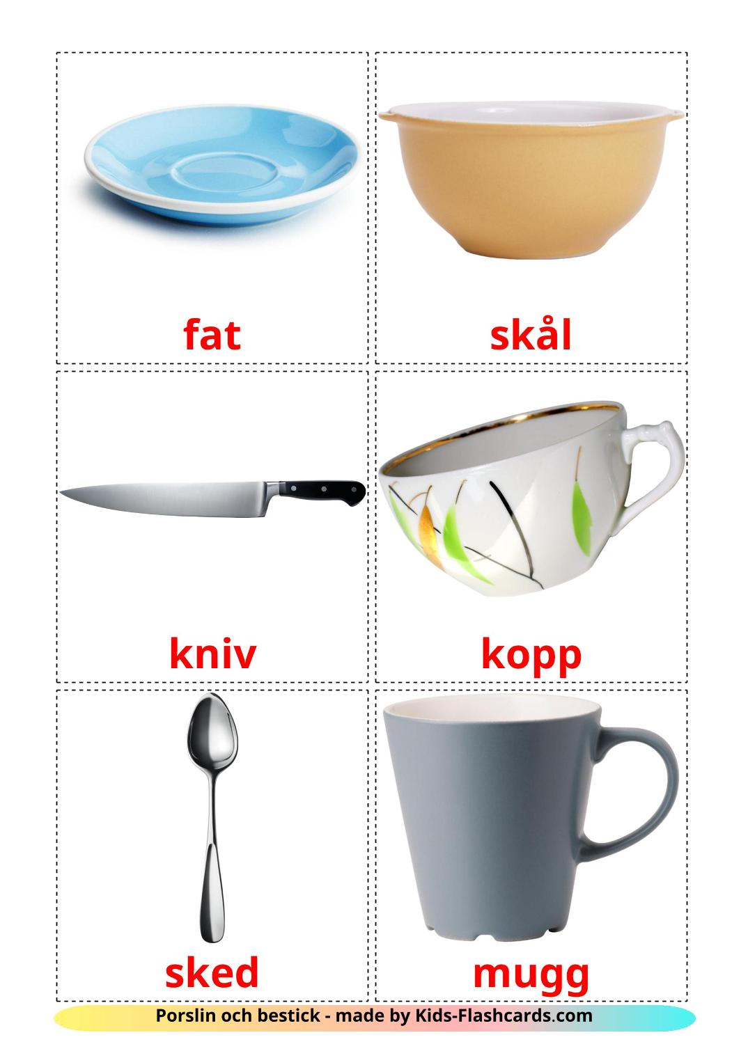 Crockery and cutlery - 29 Free Printable swedish Flashcards