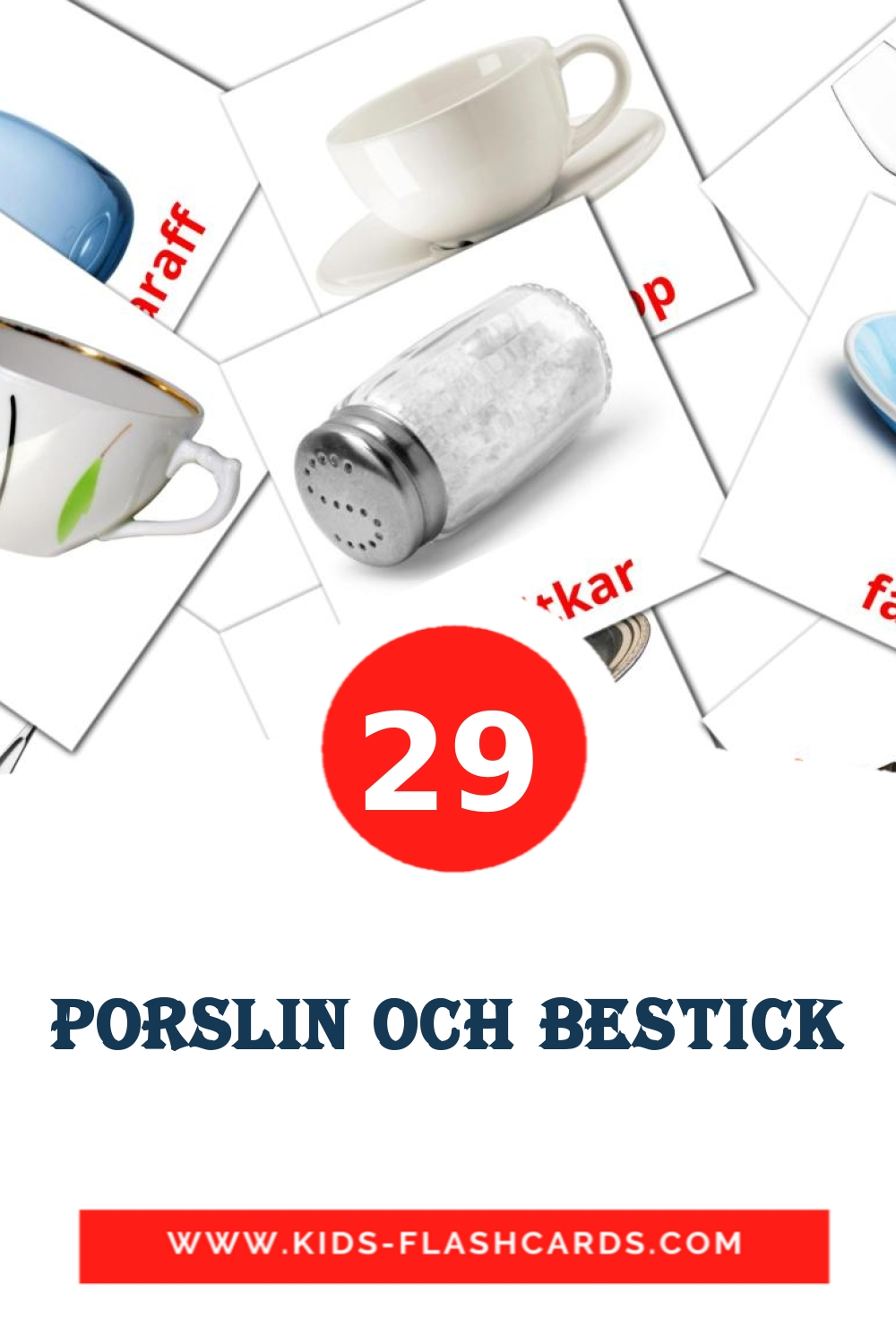 29 Porslin och bestick Picture Cards for Kindergarden in swedish