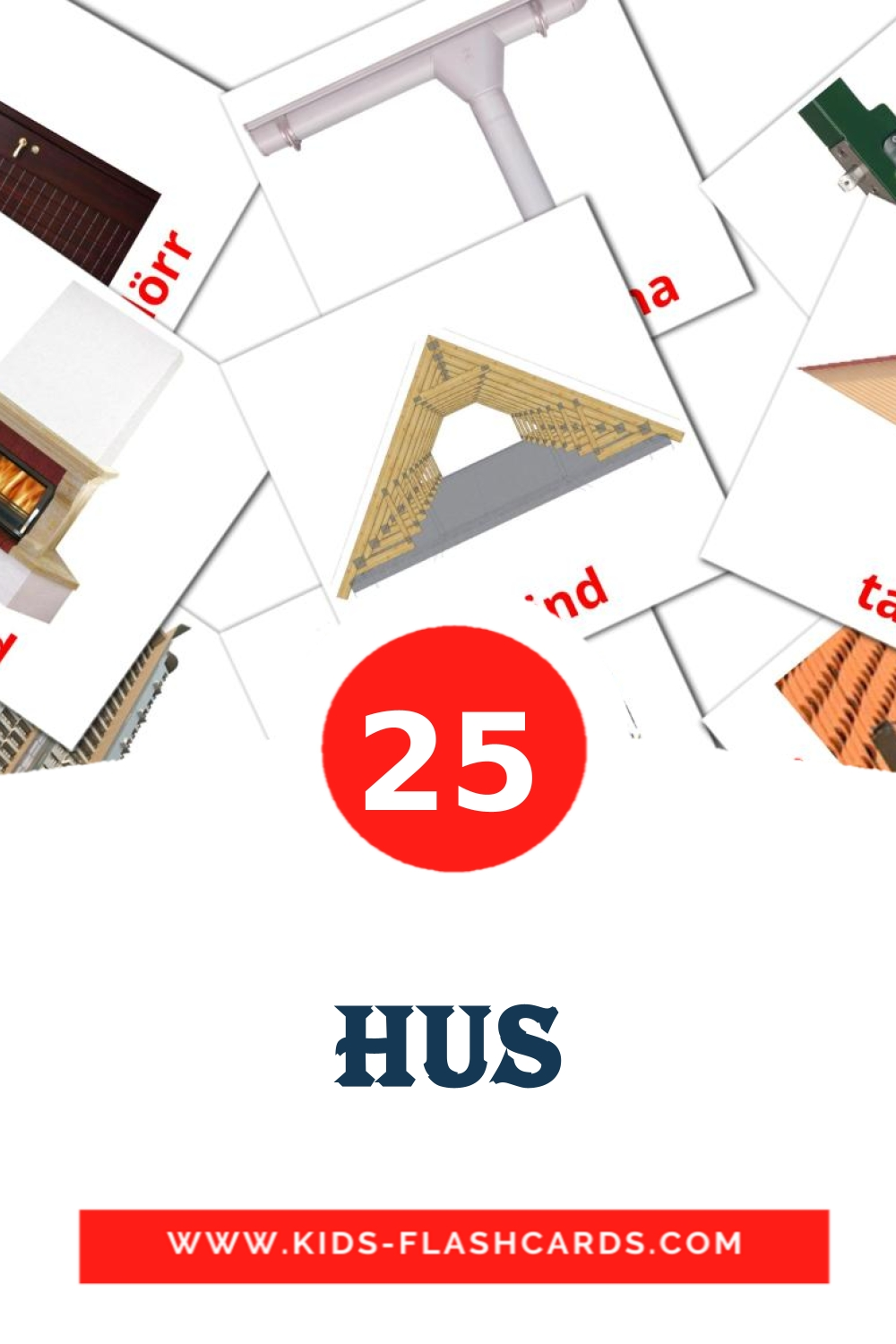 25 Hus Picture Cards for Kindergarden in swedish