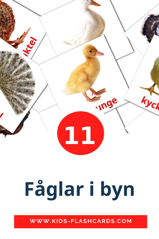 11 Fåglar i byn Picture Cards for Kindergarden in swedish