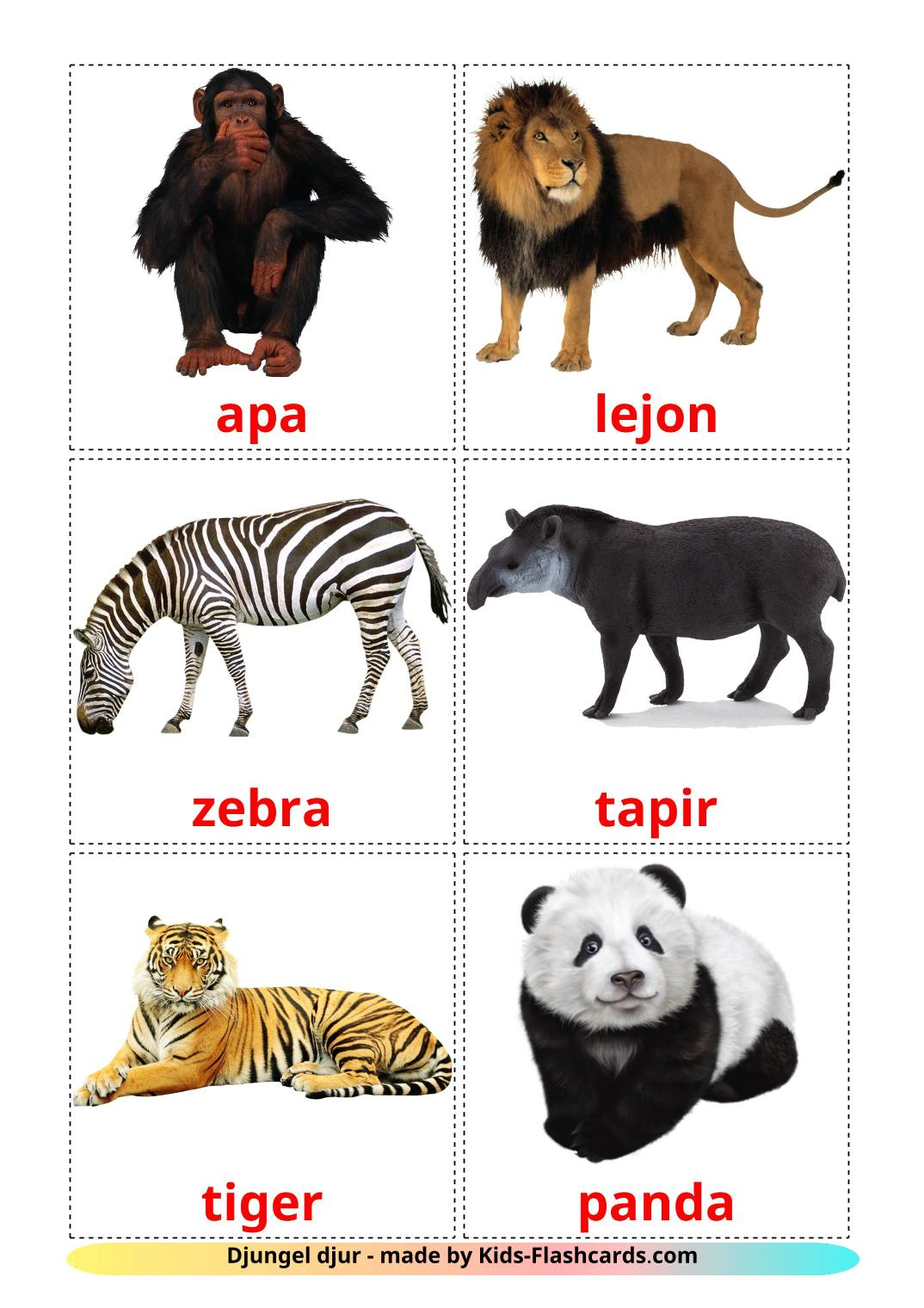 Jungle animals - 21 Free Printable swedish Flashcards