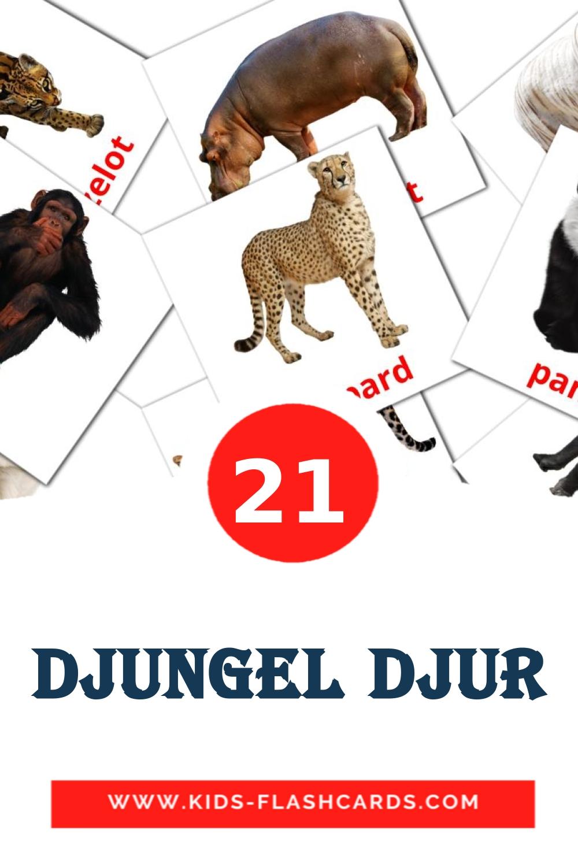 21 Djungel djur Picture Cards for Kindergarden in swedish