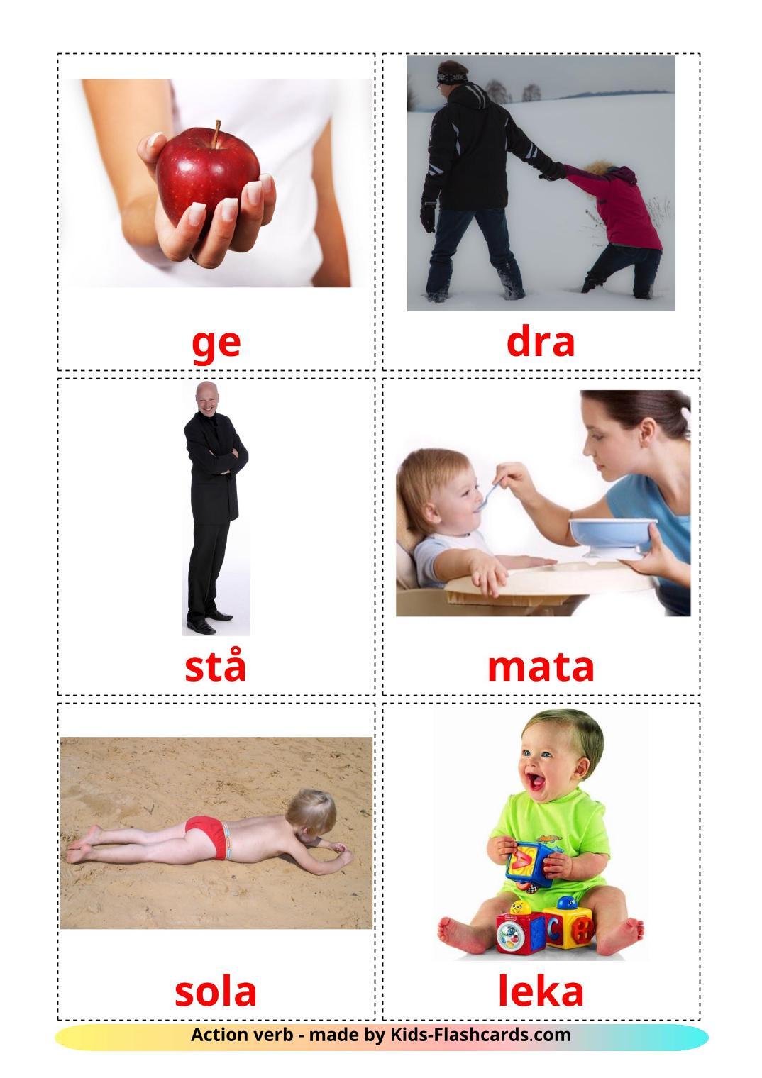 Action verbs - 55 Free Printable swedish Flashcards