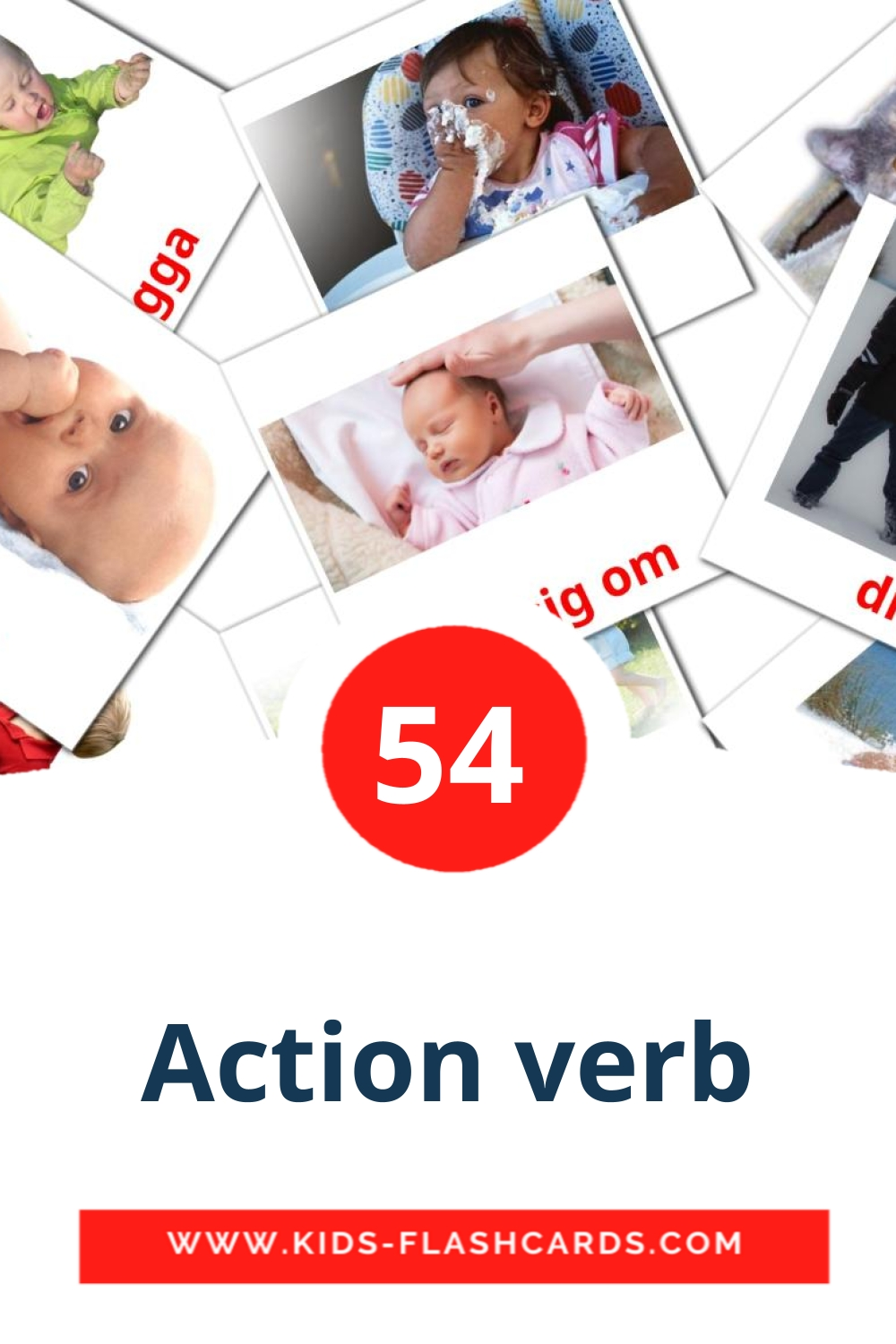 55 Action verb Picture Cards for Kindergarden in swedish